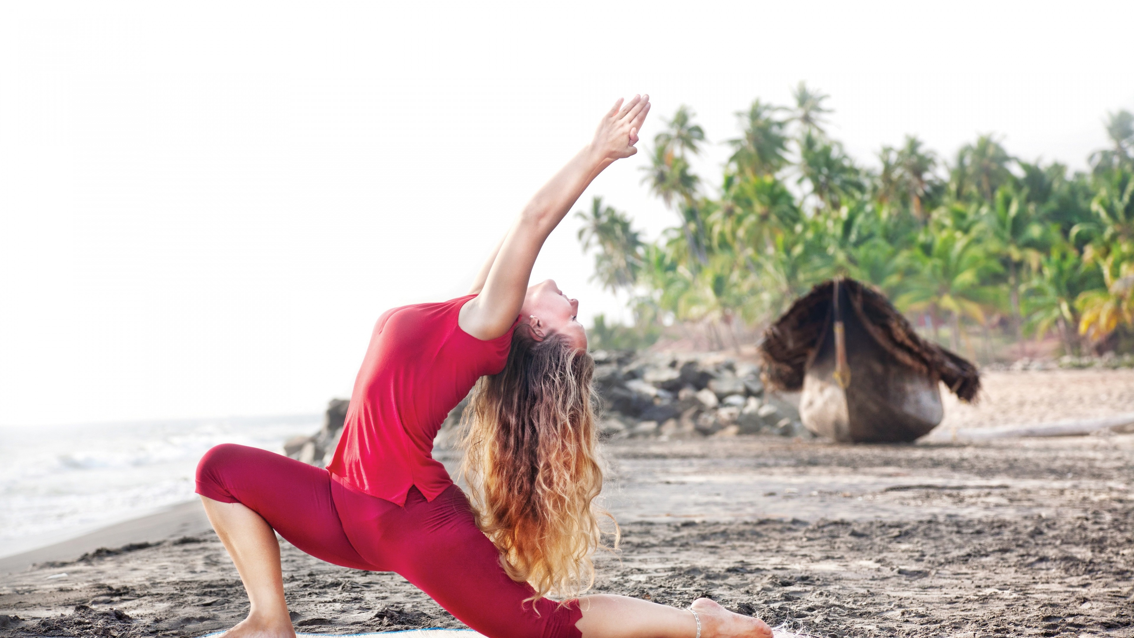 3840x2160  Wallpaper girl, yoga, beach, sea, palm trees