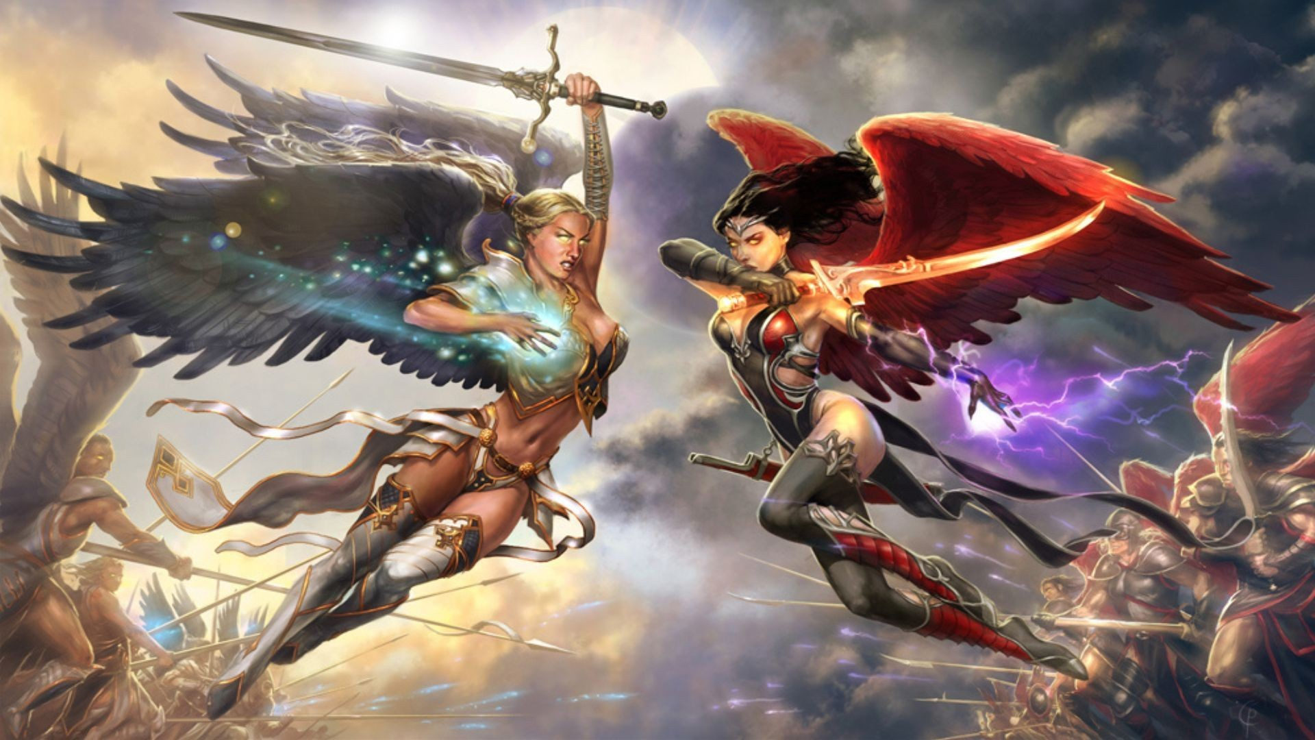 1920x1080 Fantasy - Angel Warrior Fantasy Angel Woman Wings Good vs. Evil Magic Woman  Warrior Sword