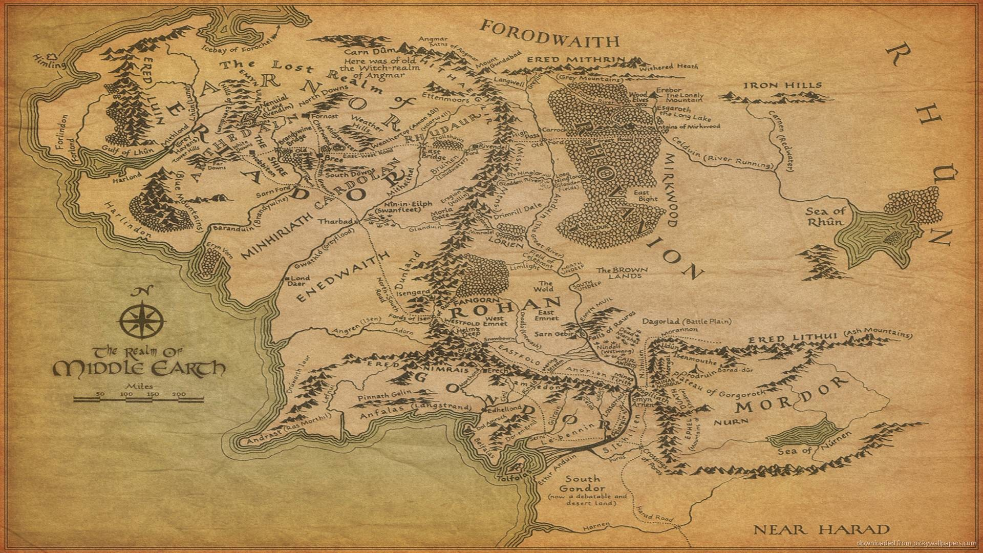 1920x1080  The Map Of Middle-earth Wallpaper