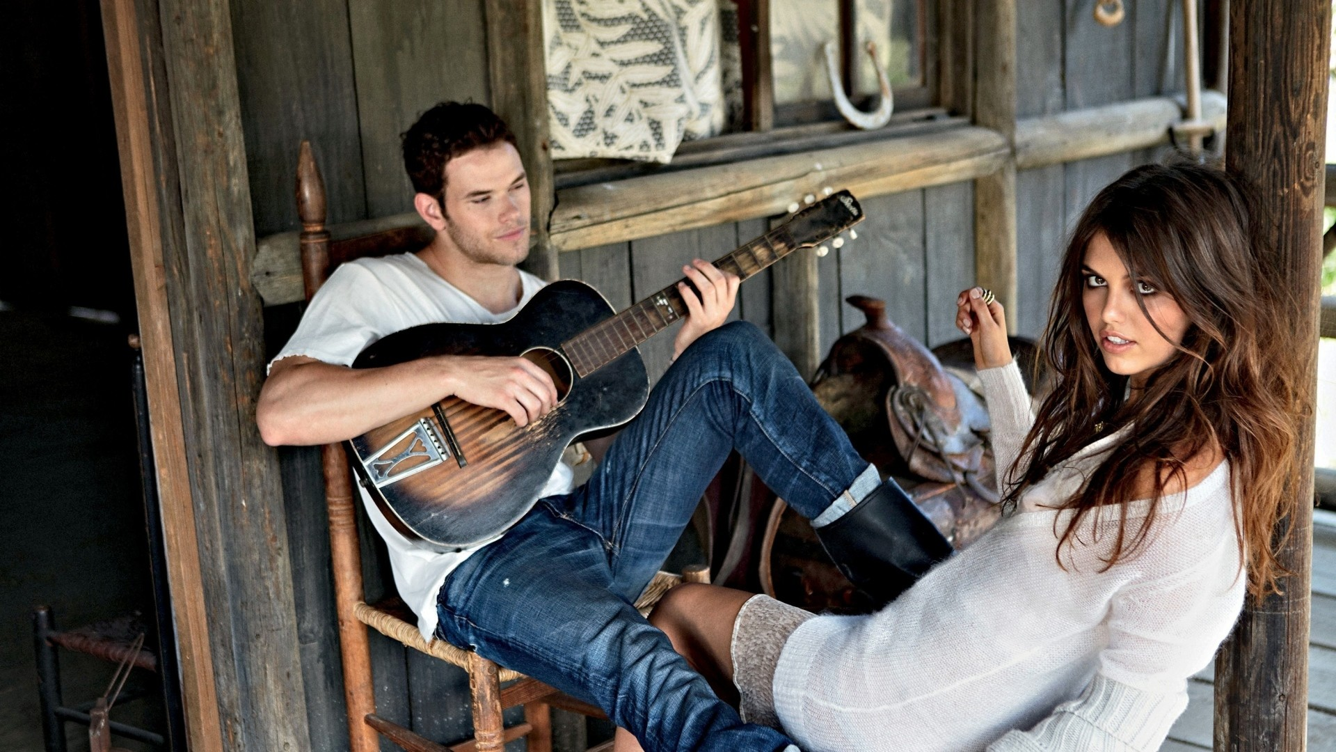 1920x1080 Preview wallpaper kellan lutz, brunette, guitar, girl, home, play, model