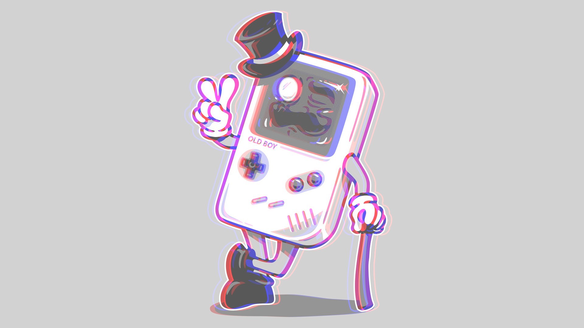 1920x1080 Preview wallpaper gameboy, anaglyph, 3d