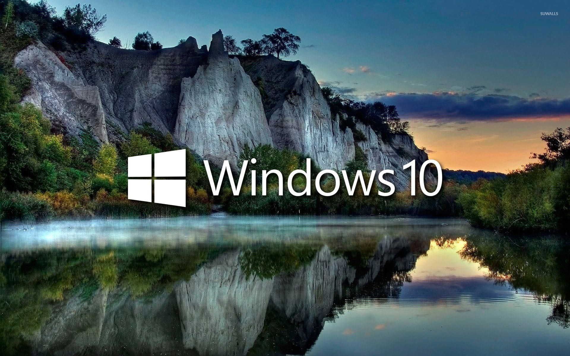 1920x1200 Windows 10 on the lake reflection [2] wallpaper  jpg