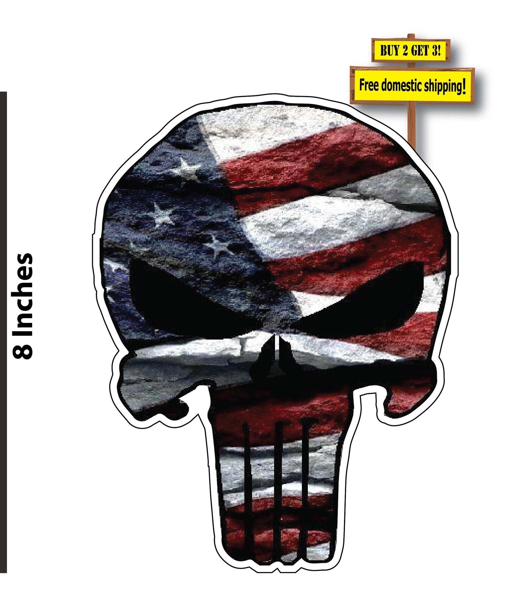 1762x2048 American Flag Punisher USA Vinyl Decal Stickers FREE SHIPPING FLG22