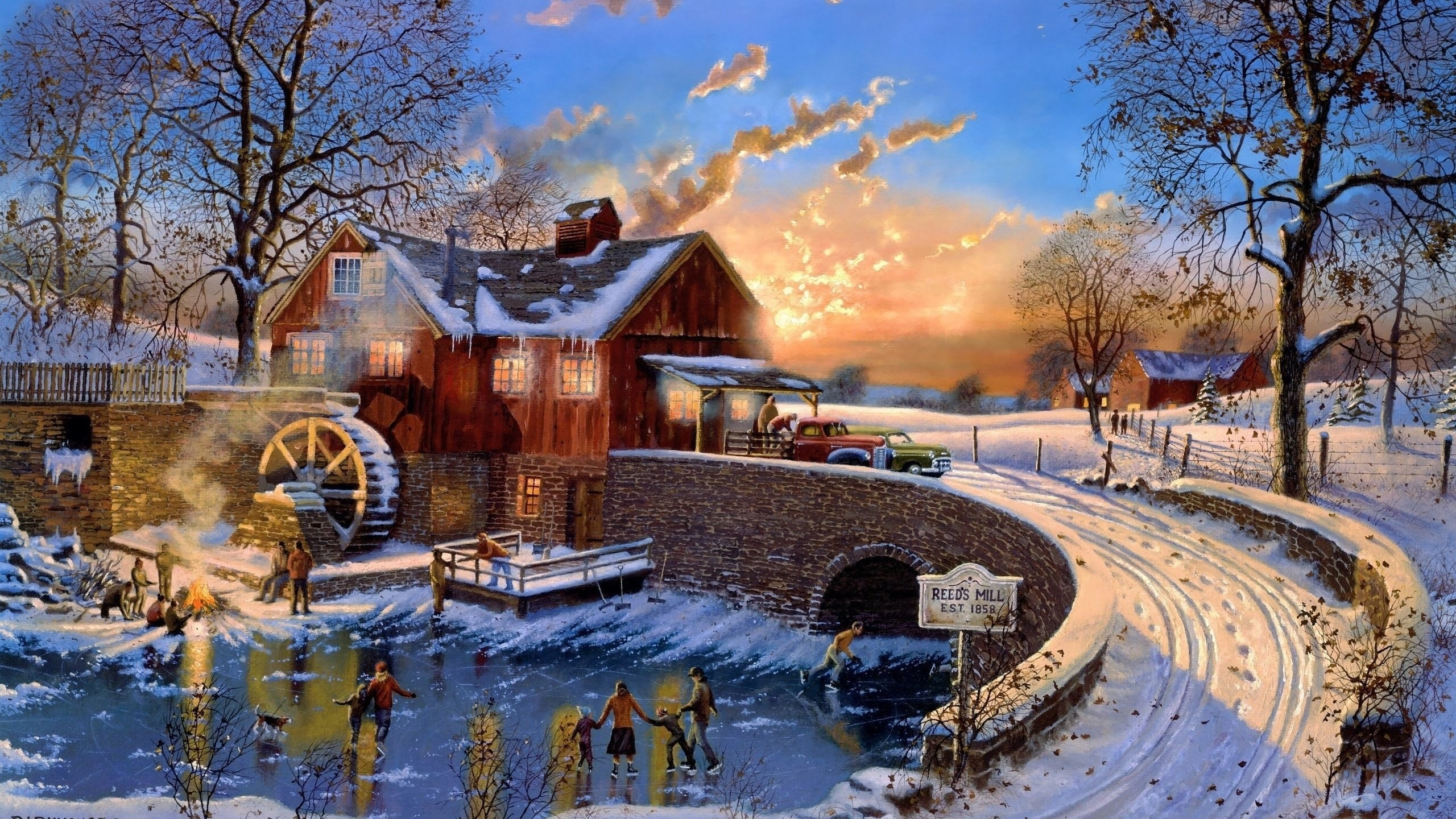 Christmas village backgrounds 52 images - Art village wallpaper ...