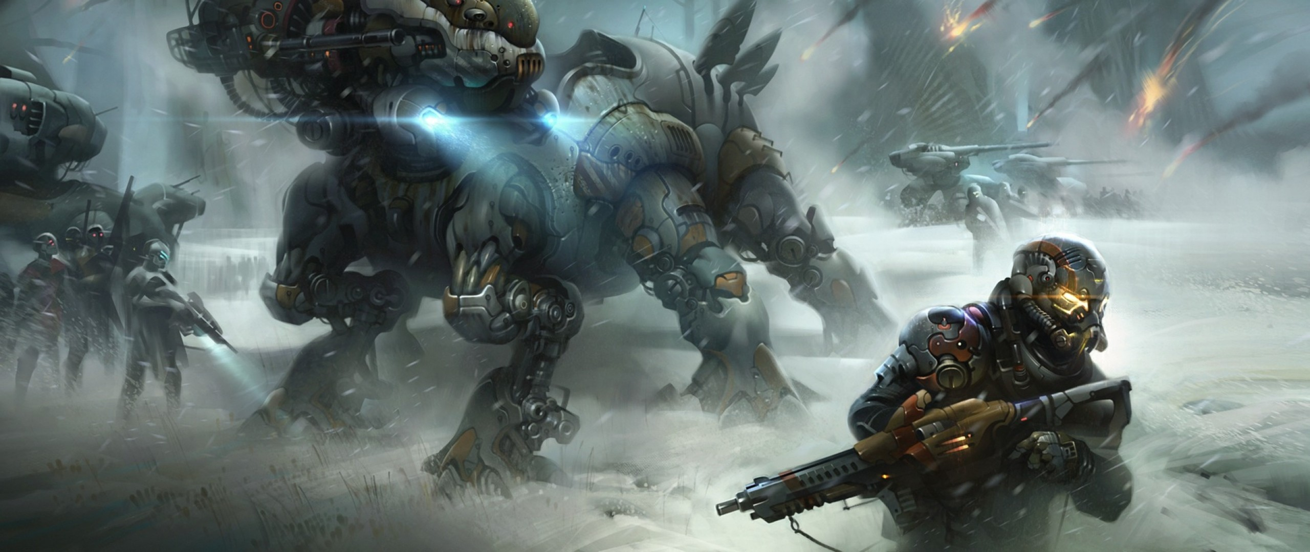 2560x1080 Preview wallpaper destiny, soldiers, war, winter
