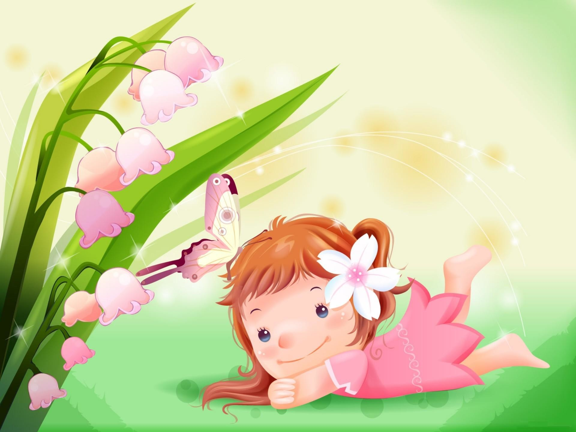 1920x1440 Cute Little Girl with Butterfly Cartoon Wallpaper