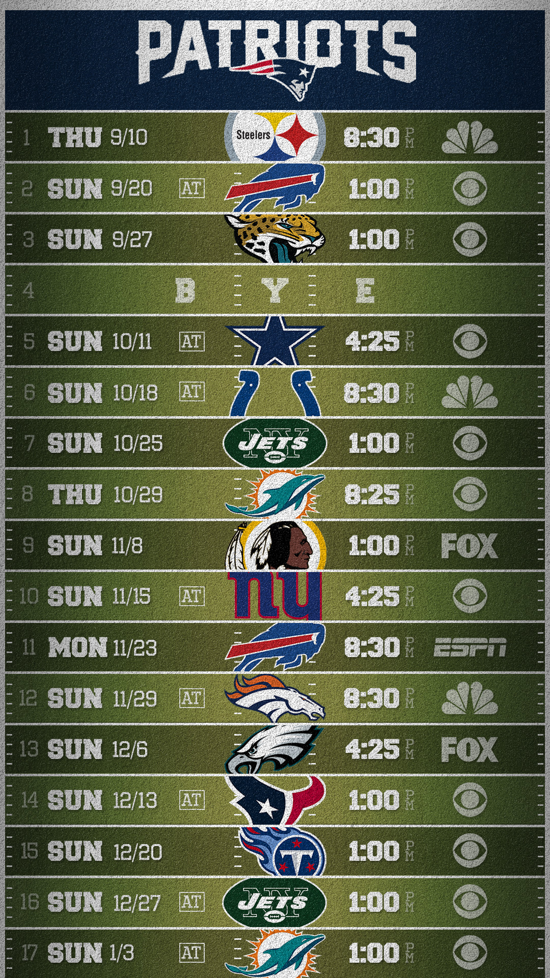 1080x1920 Patriots 2015 Mobile Schedule wallpaper (credit to /u/dbeat who made the  original 2014 version) ...