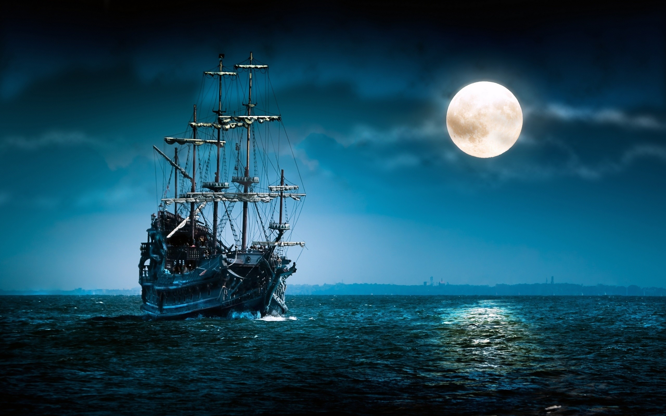 2560x1600 Sailboat Sea Moon Ship Boat Ocean Night Mood Wallpaper Background