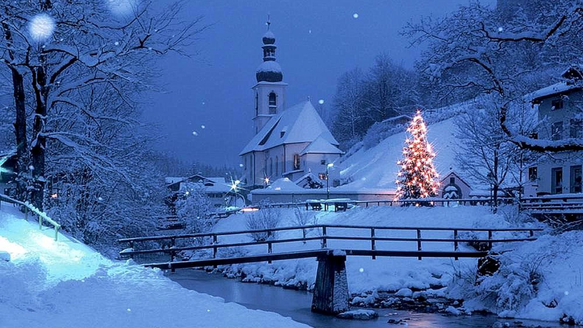 1920x1080 Winter - Lights Snow Winter Christmas Scenery Holidays Xmas Tree Nature  Houses Blue Four Creek Bridge