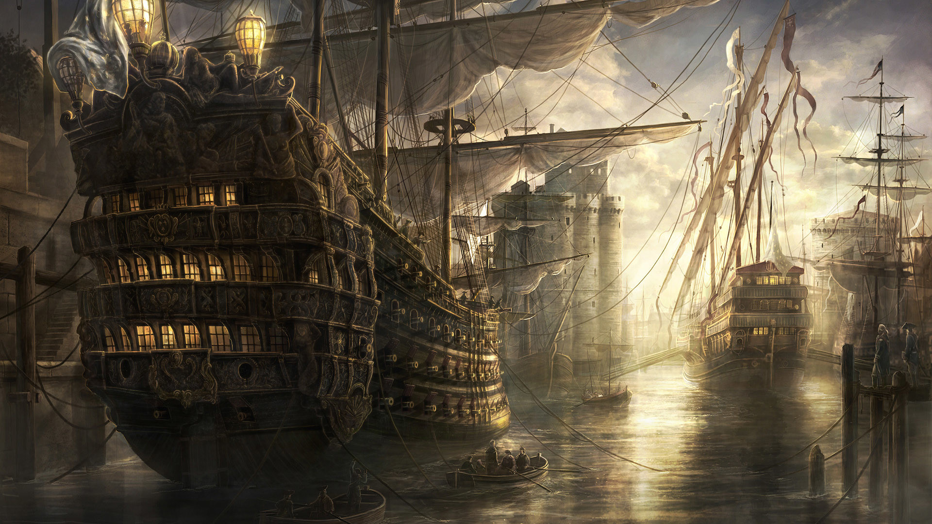 1920x1080 Pirate Ship Schooner HD wallpaper thumb