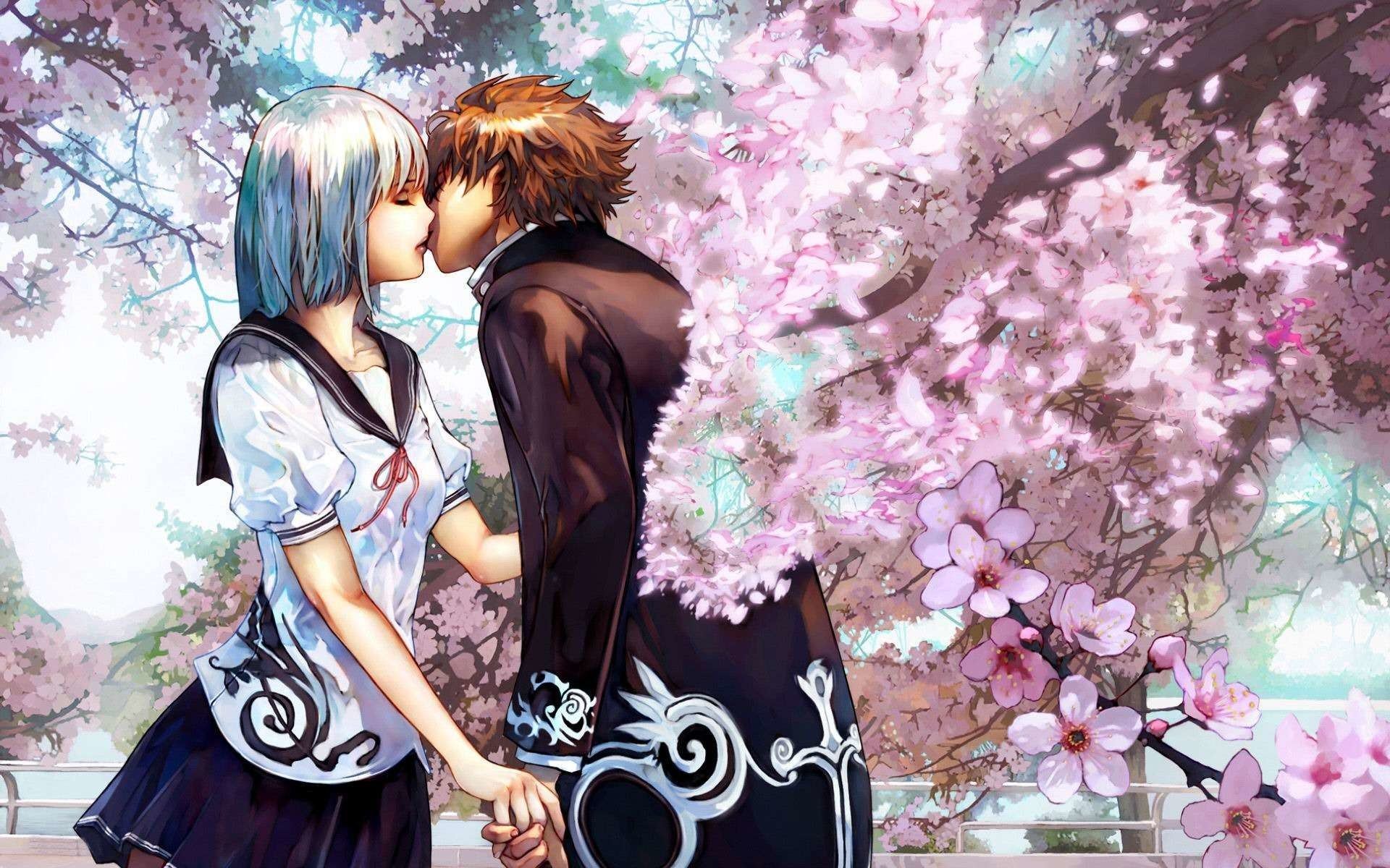 1920x1200 Cute Anime Couple Kiss HD Wallpaper