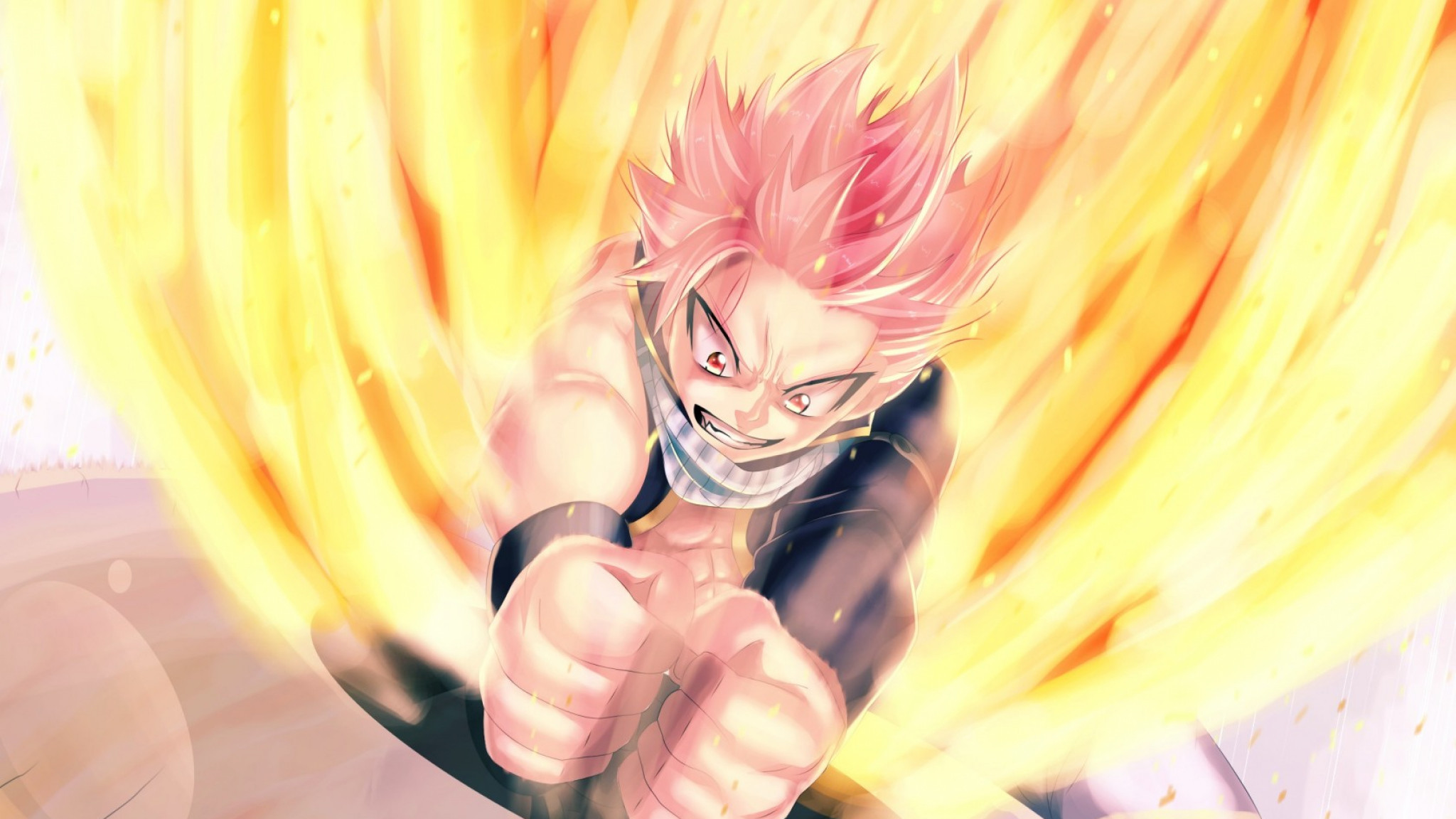 2048x1152  Wallpaper fairy tail, natsu dragneel, man, anger
