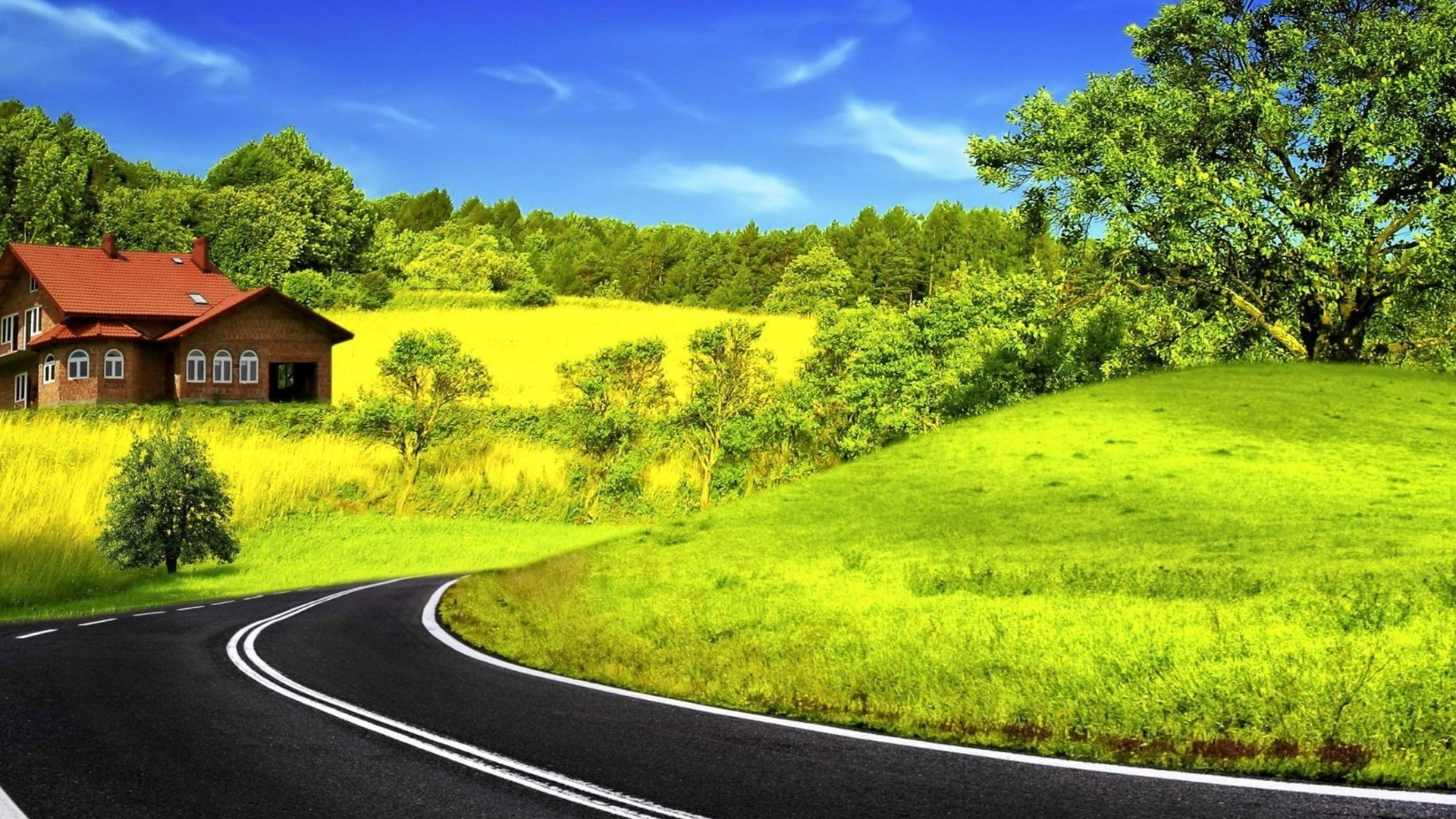 1920x1080 ... Background Full HD 1080p.  Wallpaper road, sky, marking, nature
