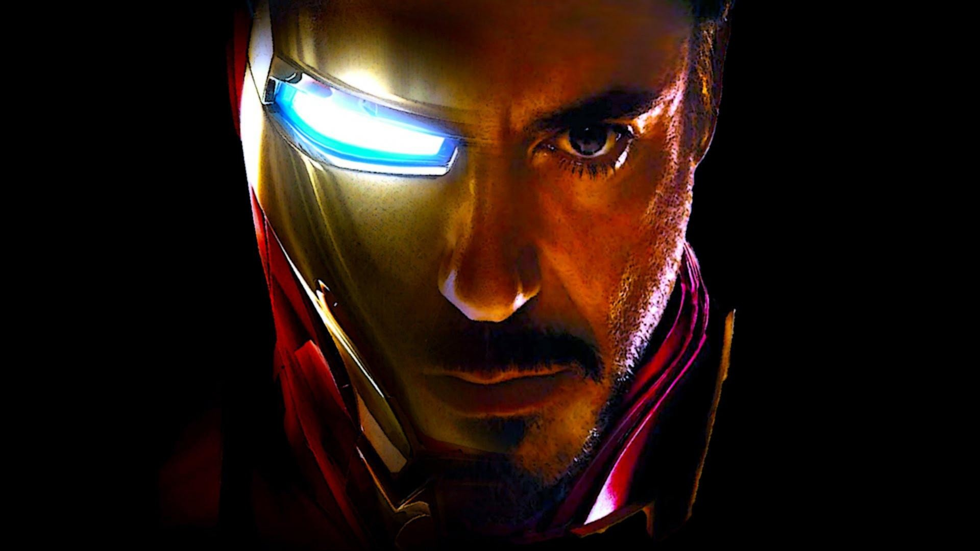 1920x1080 ... Iron Man Wallpaper - Face of Iron Man and Tony Stark (Robert Downey Jr.  ...