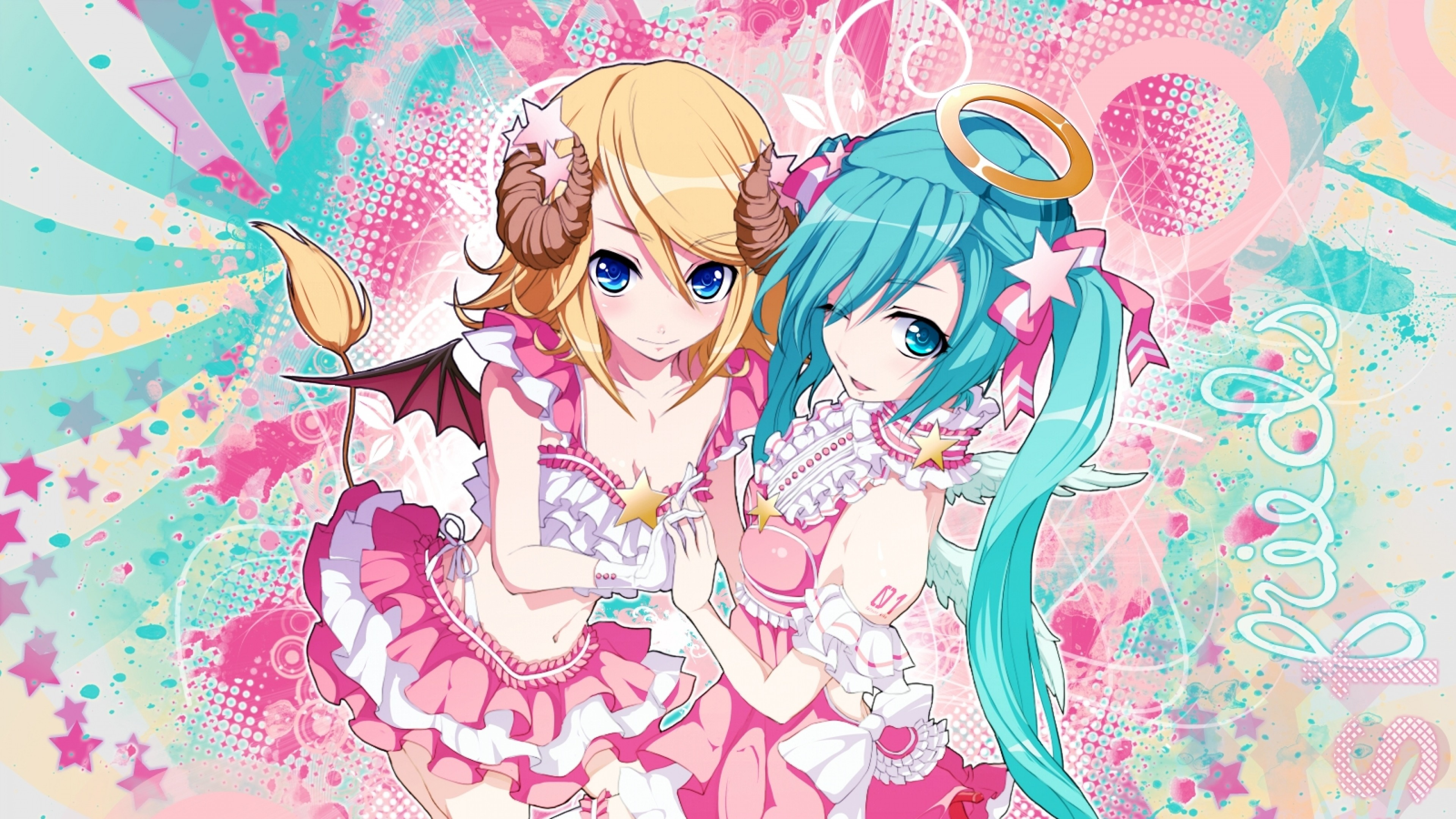 3840x2160 Preview wallpaper hatsune miku, kagamine rin, blue eyes, blonde hair, two  tails