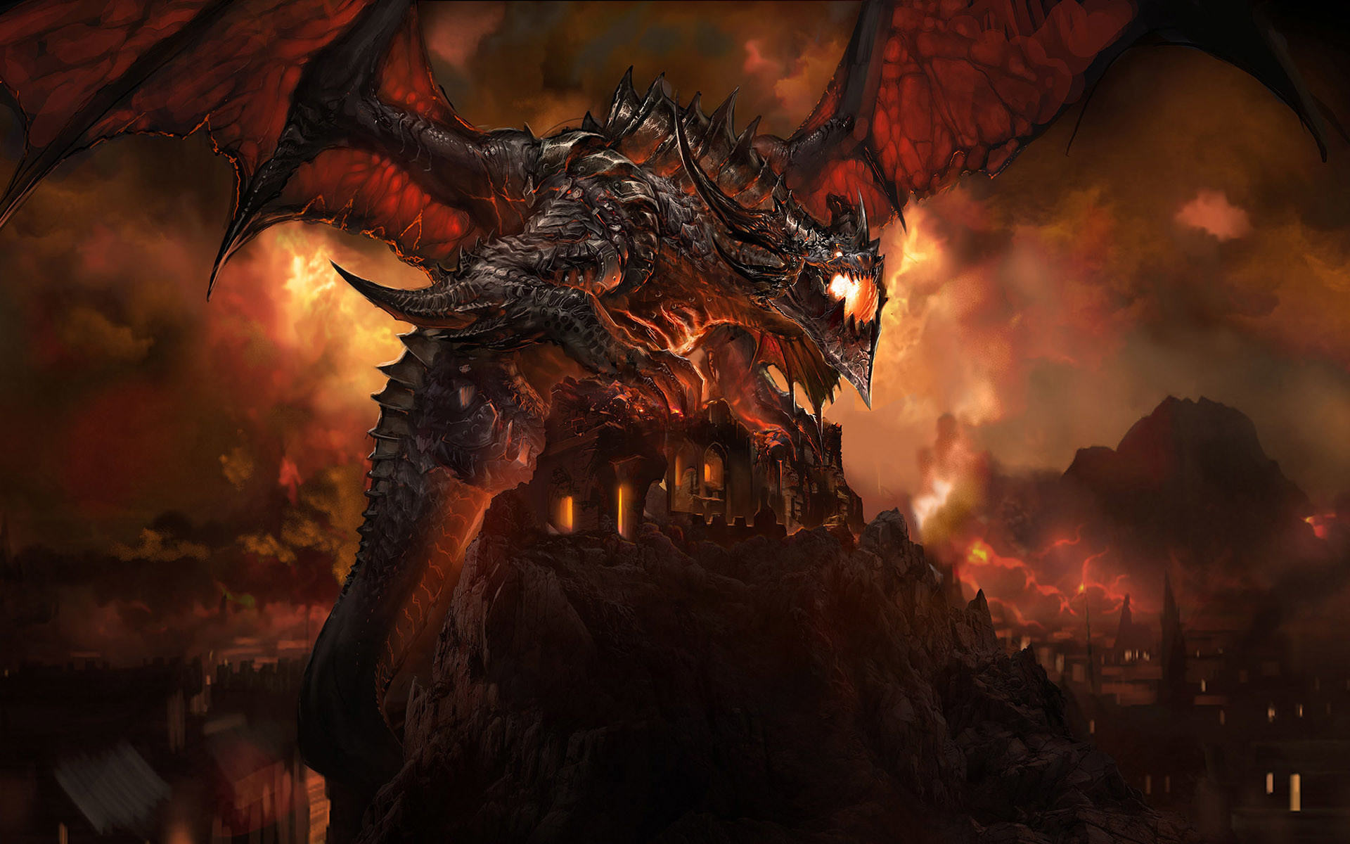 1920x1200 Video Game World Of Warcraft Dragon Sky Fire Deathwing Wallpaper