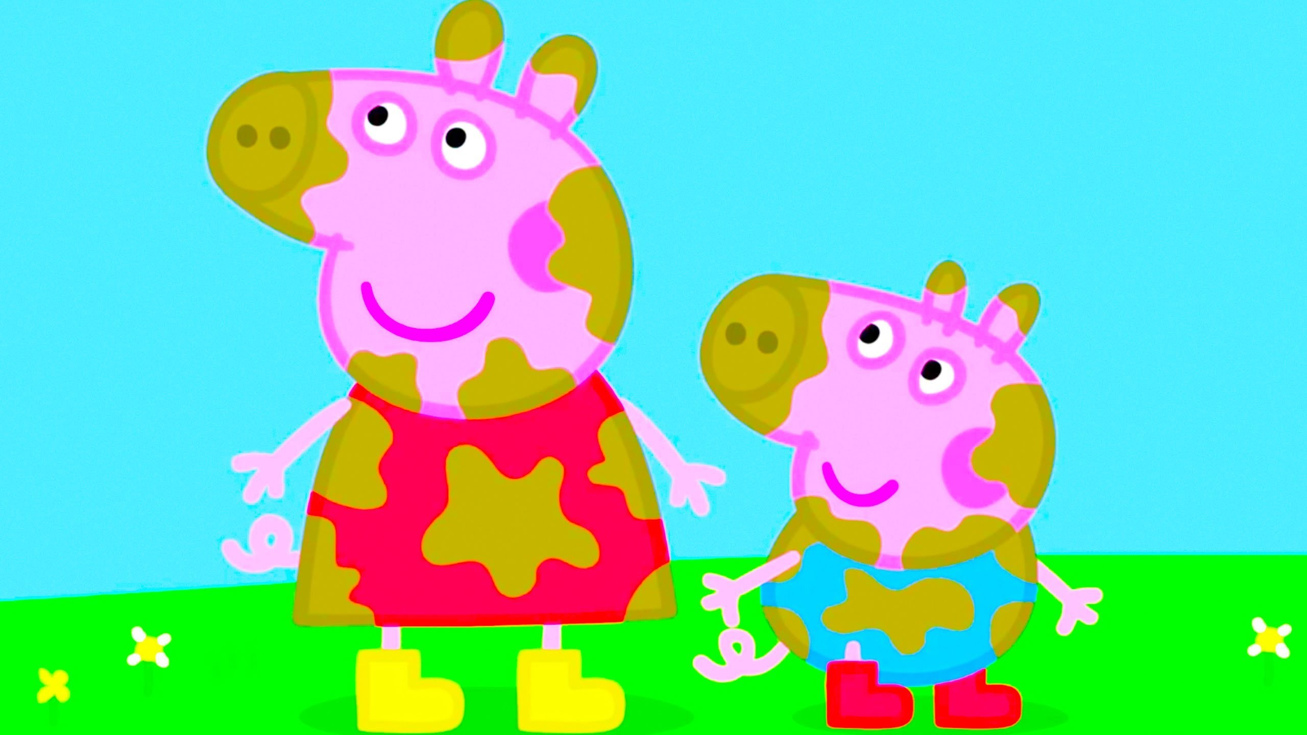 2560x1440 Peppa Pig Coloring Pages For Kids Book Family Muddy Puddles MyfunToys