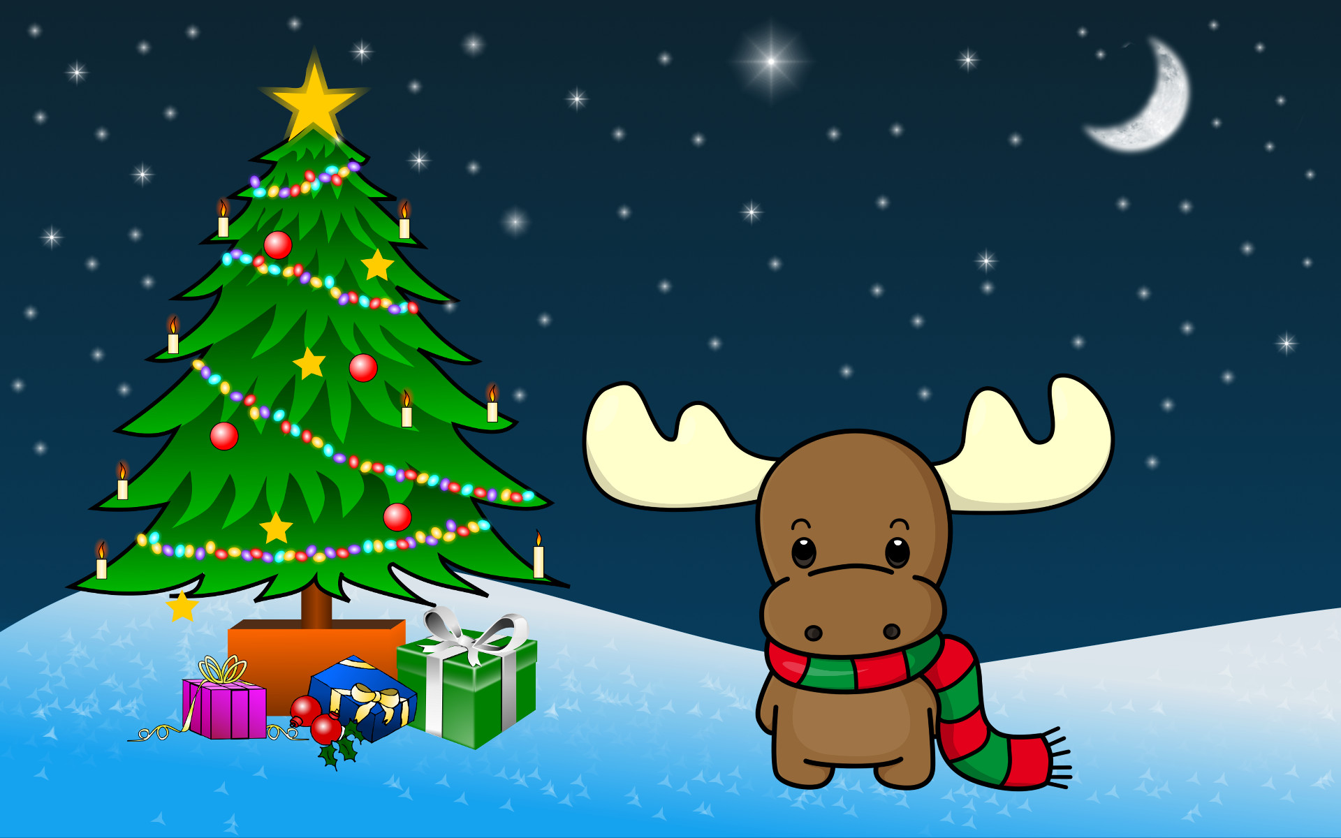 1920x1200 Shy Christmas Moose wallpaper
