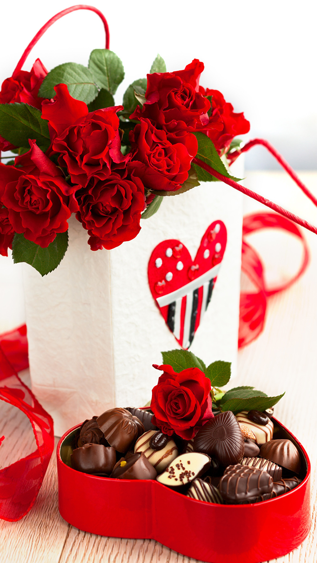 1080x1920 Wallpapers Heart Chocolate Red Candy Roses Box Flowers Food