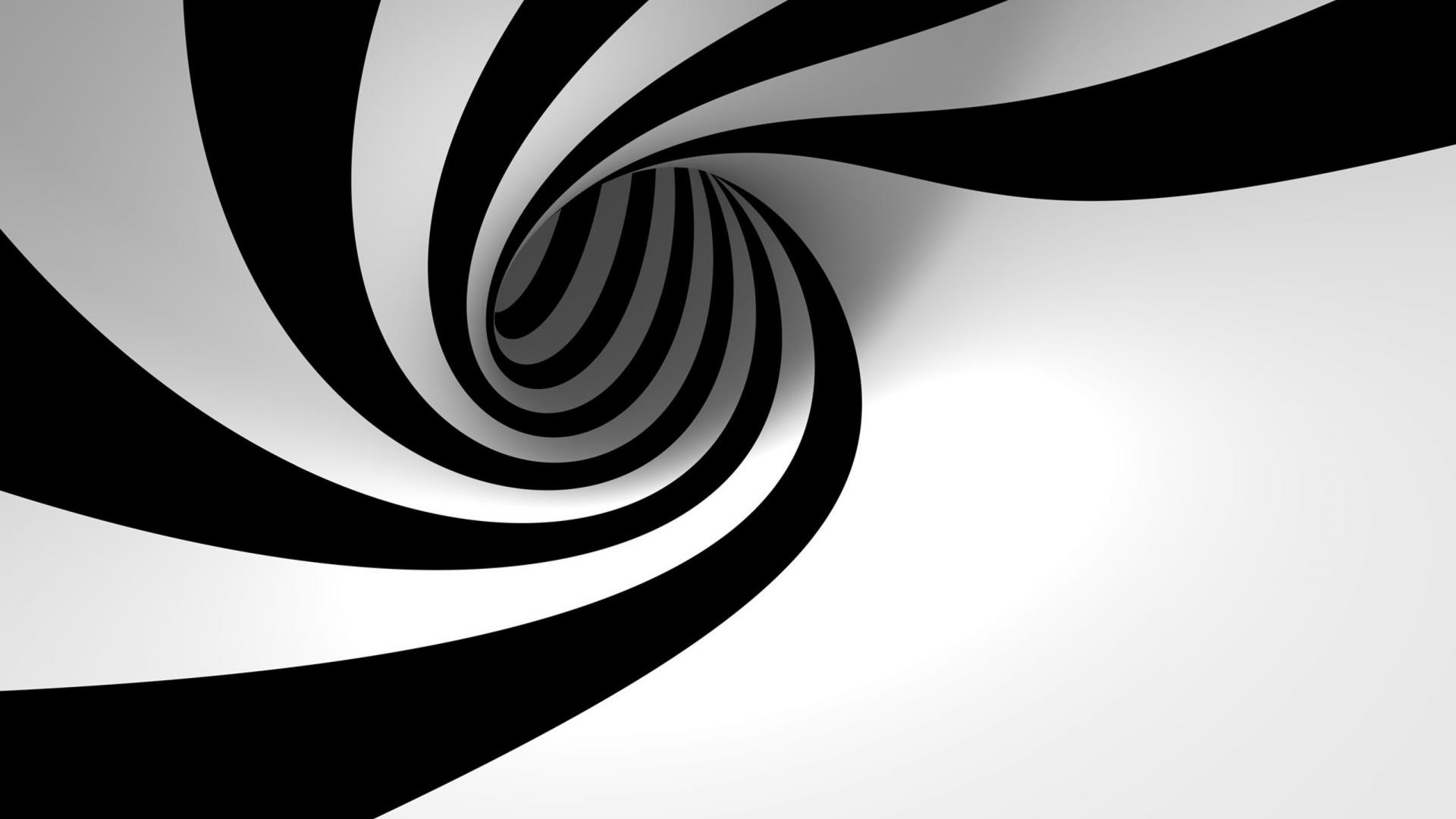 1920x1080 3D Backgrounds Black and White HD Wallpaper