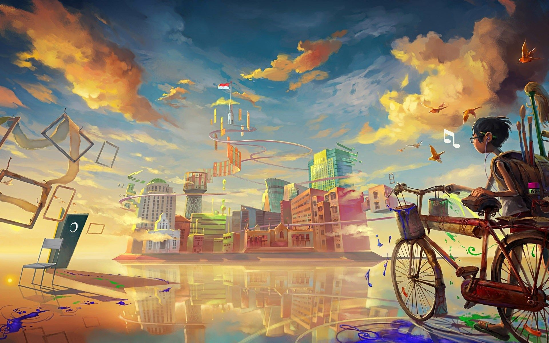 1920x1200 boy-biccycle-city-drawing-paint-art-HD-wallpaper