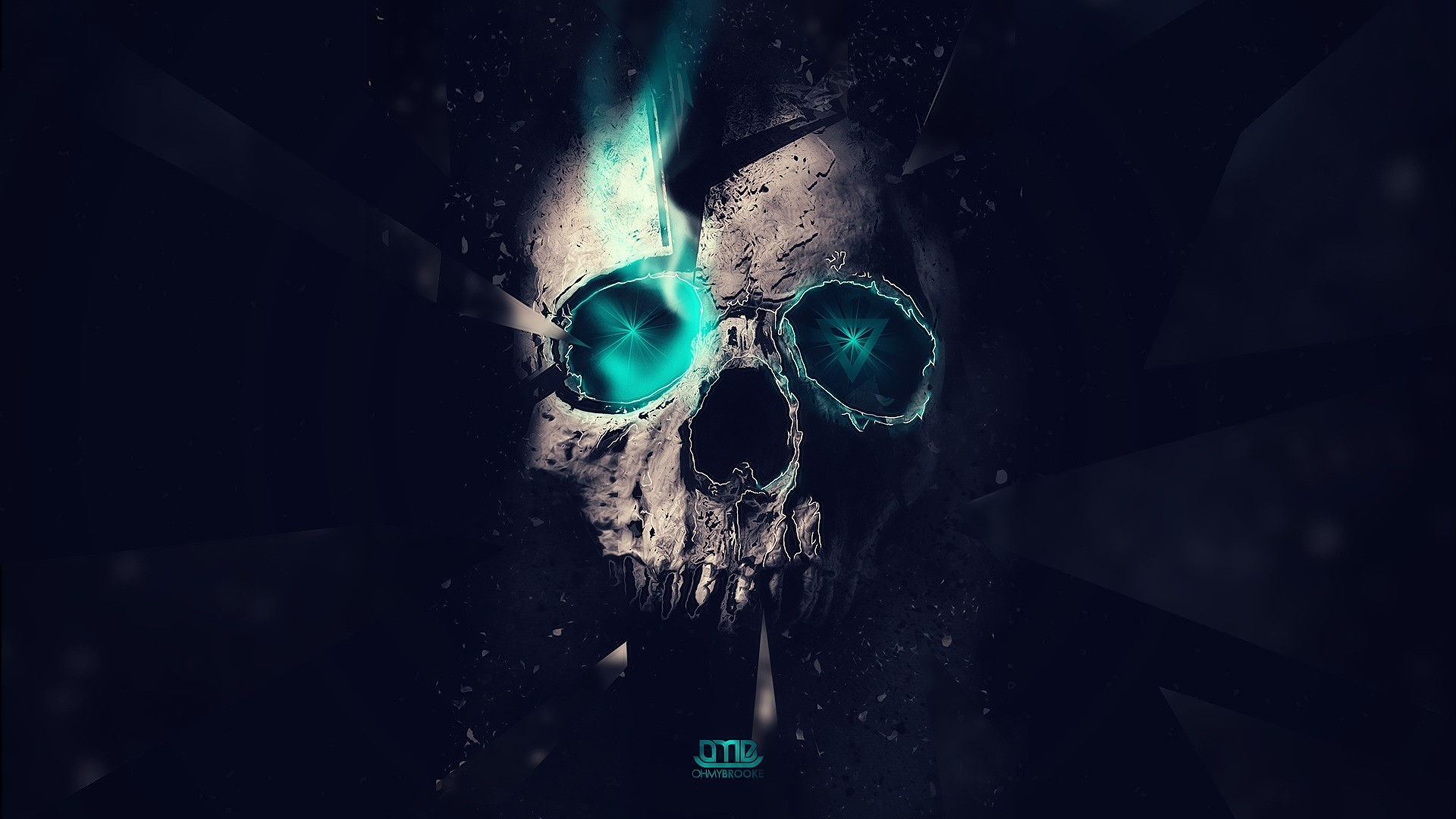 1920x1080 skull, abstract. blue lights, Triangles, lighting, space, hd wallpaper