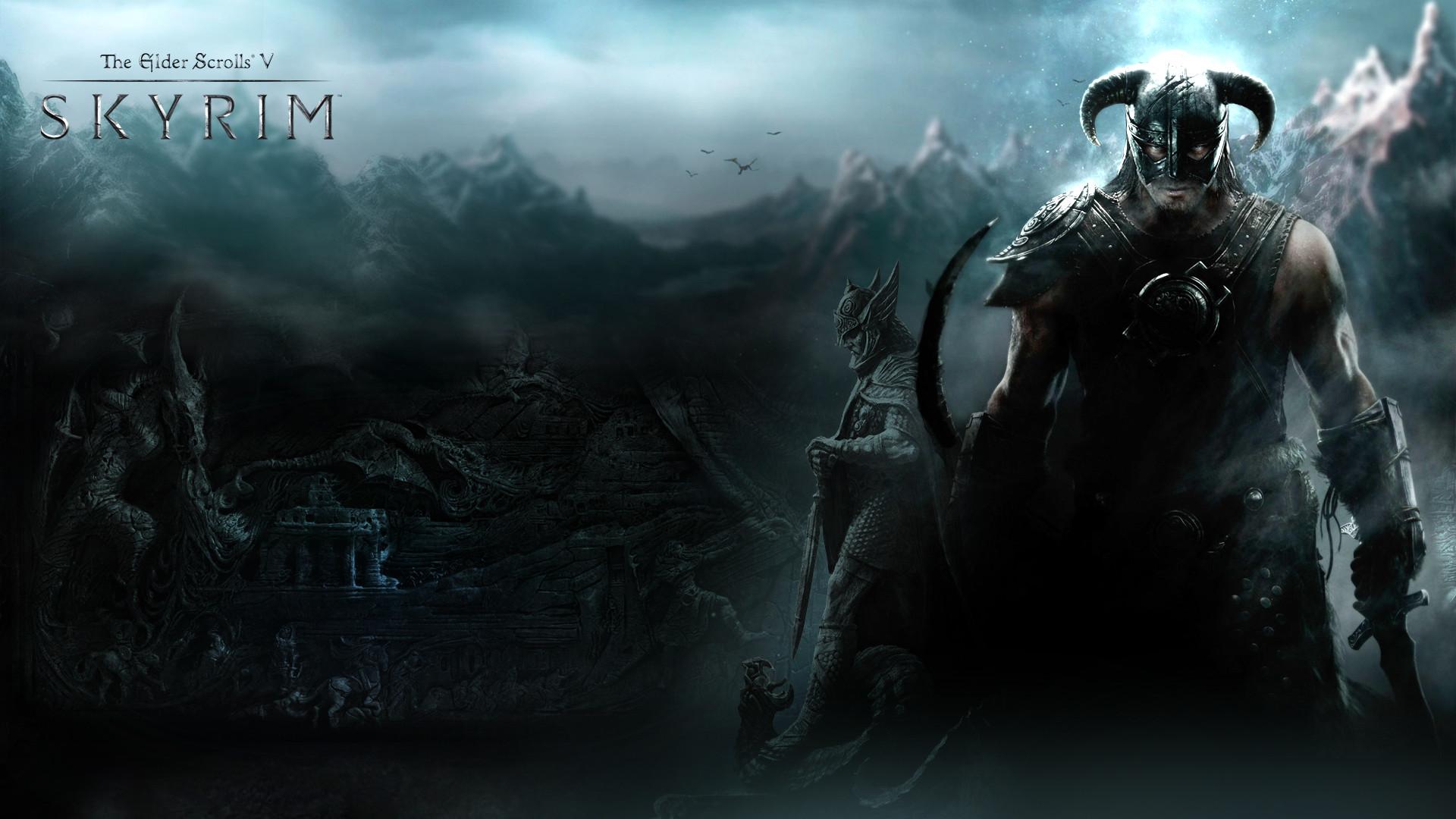 1920x1200 Computerspiele - The Elder Scrolls V: Skyrim Wings Skyrim Horns Drachen Wallpaper