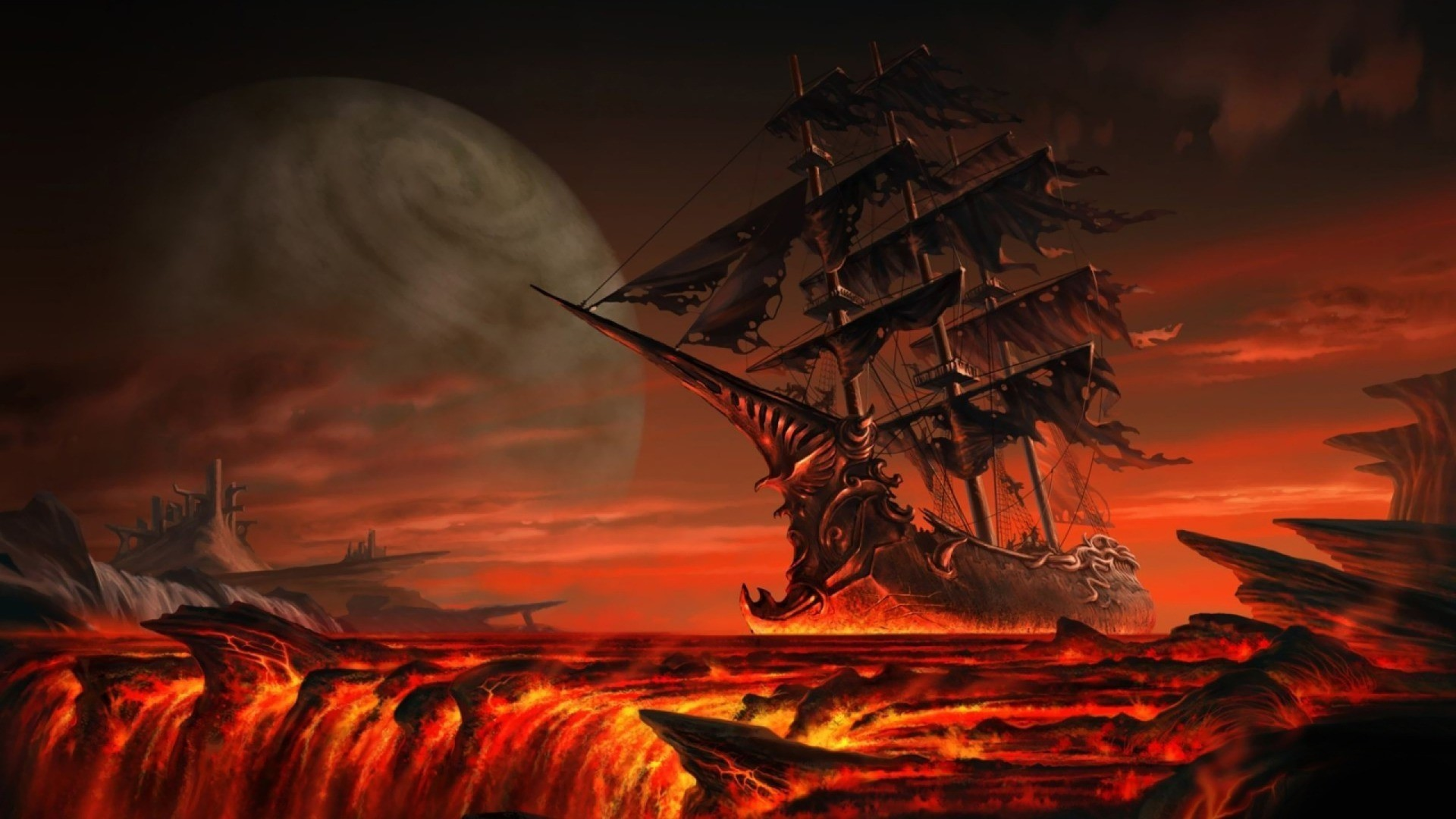 1920x1080 fantasy art floating ghost ship lava sailing ship wallpaper (#2969963) /  Wallbase.