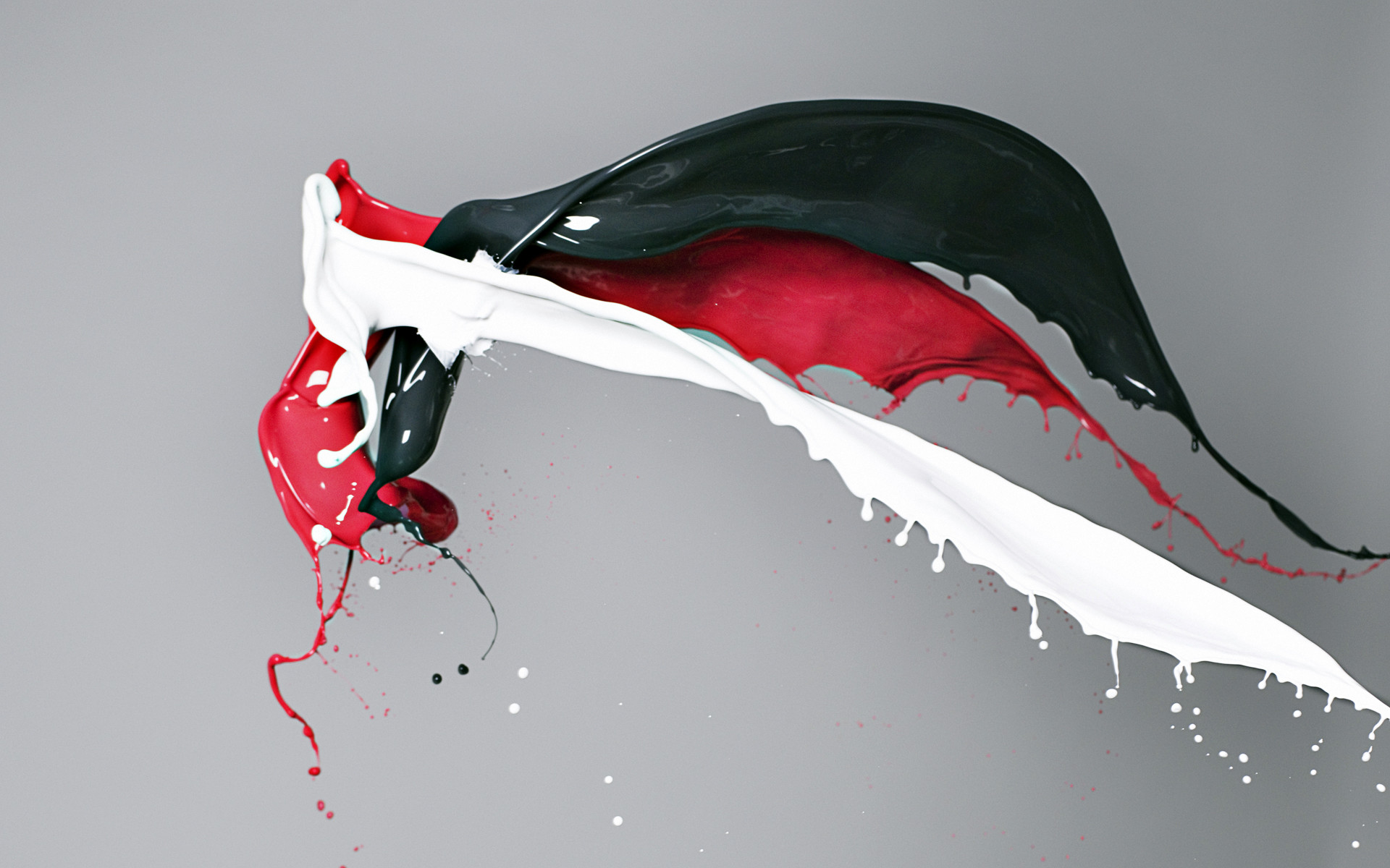 1920x1200 Red white and black paint colliding HD Wallpaper ()