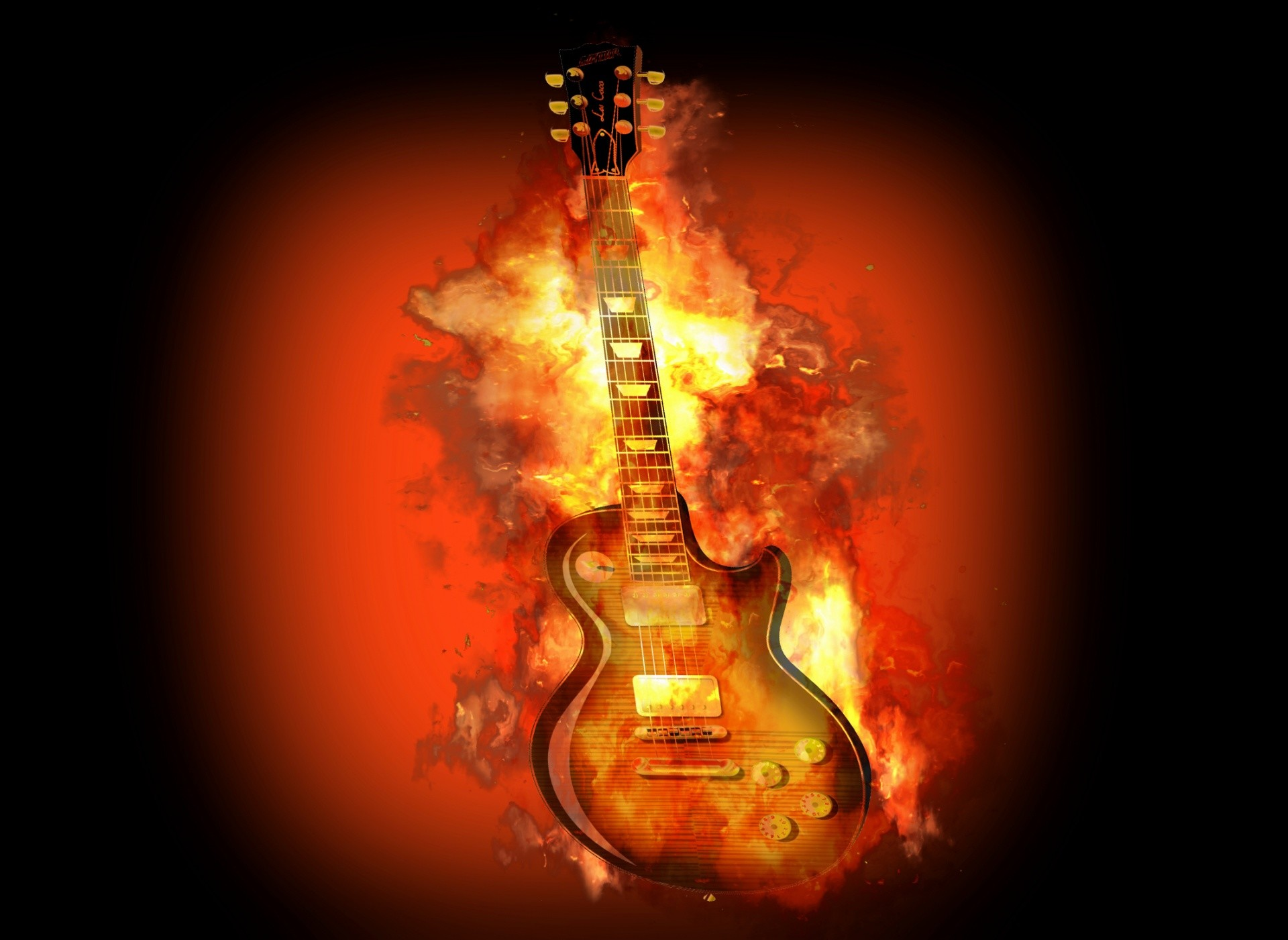 1920x1401 Guitar Fire Flame