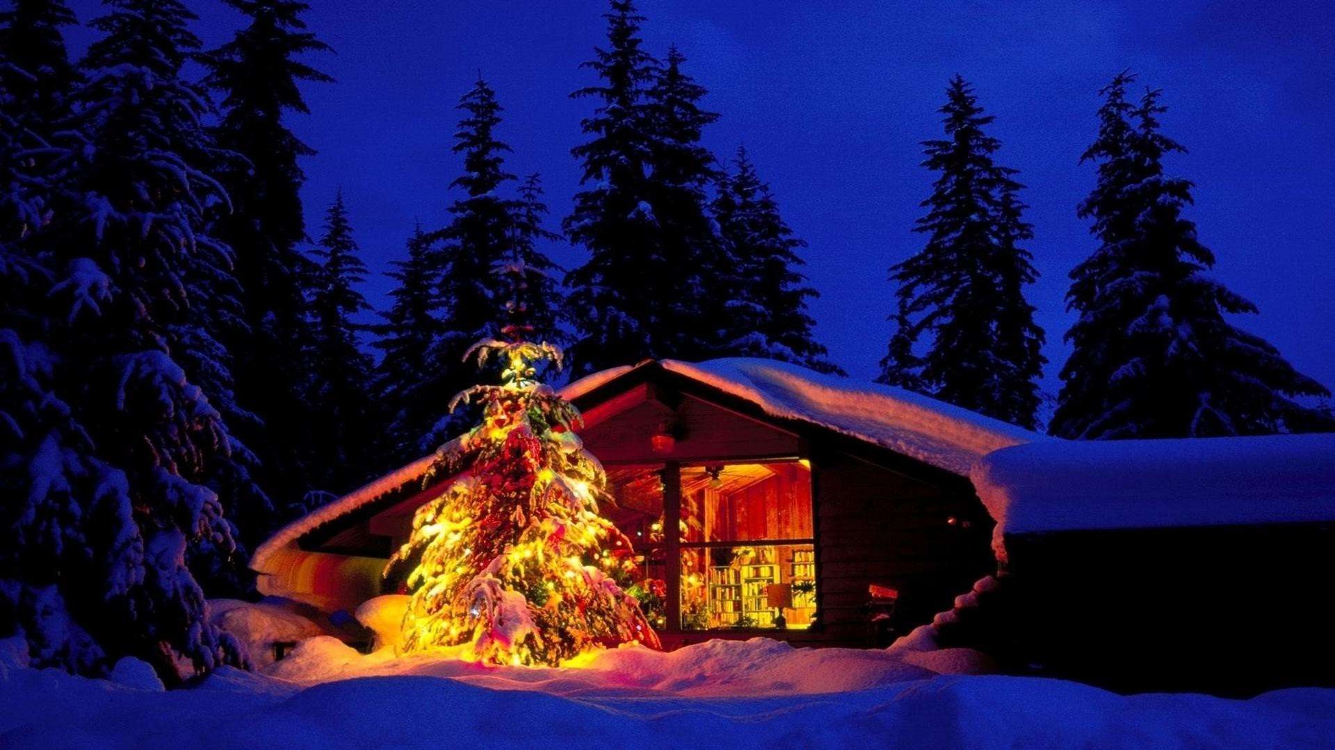 1920x1080 Free Christmas Cabin And Tree In Deep Snow - Landscapes Christmas Desktop  Wallpaper and Computer Background