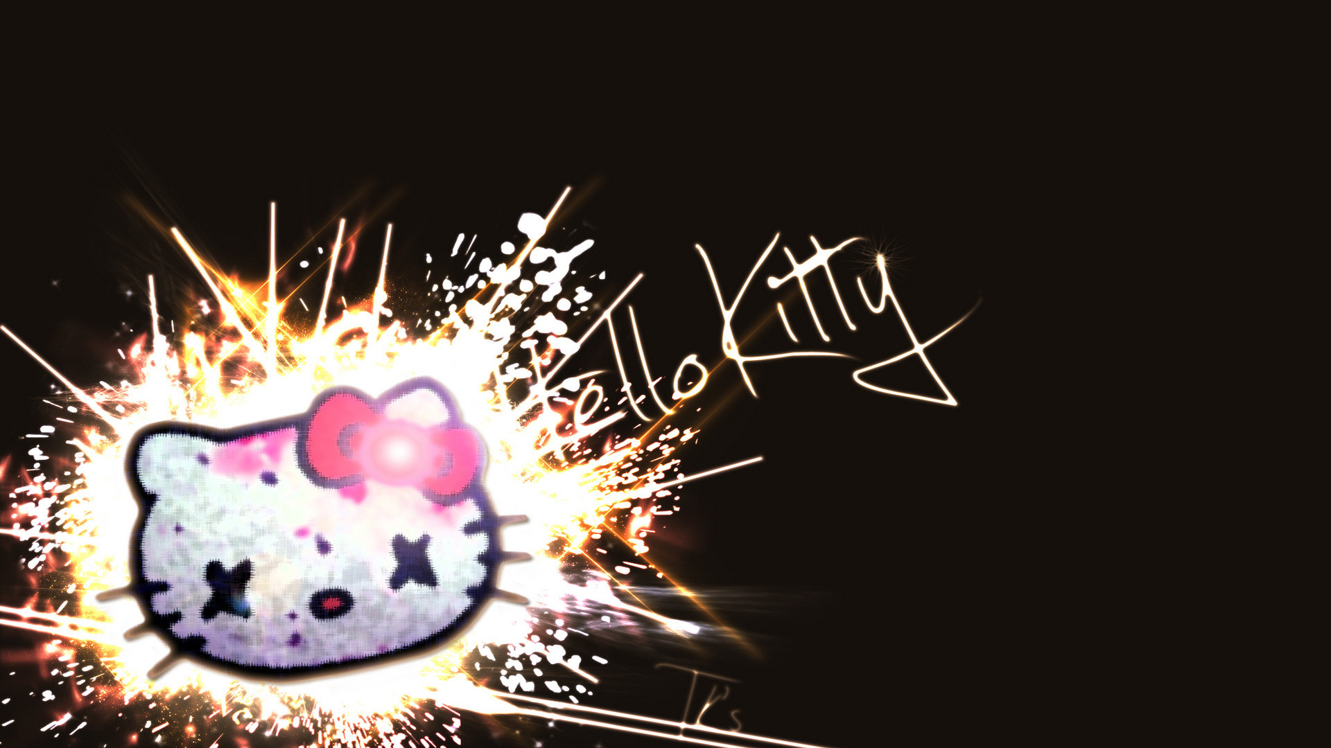 1920x1080 Hello Kitty Black Wallpapers Hd Resolution