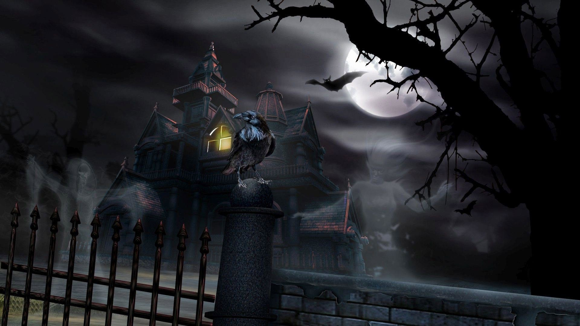 1920x1080 free haunted house wallpaper