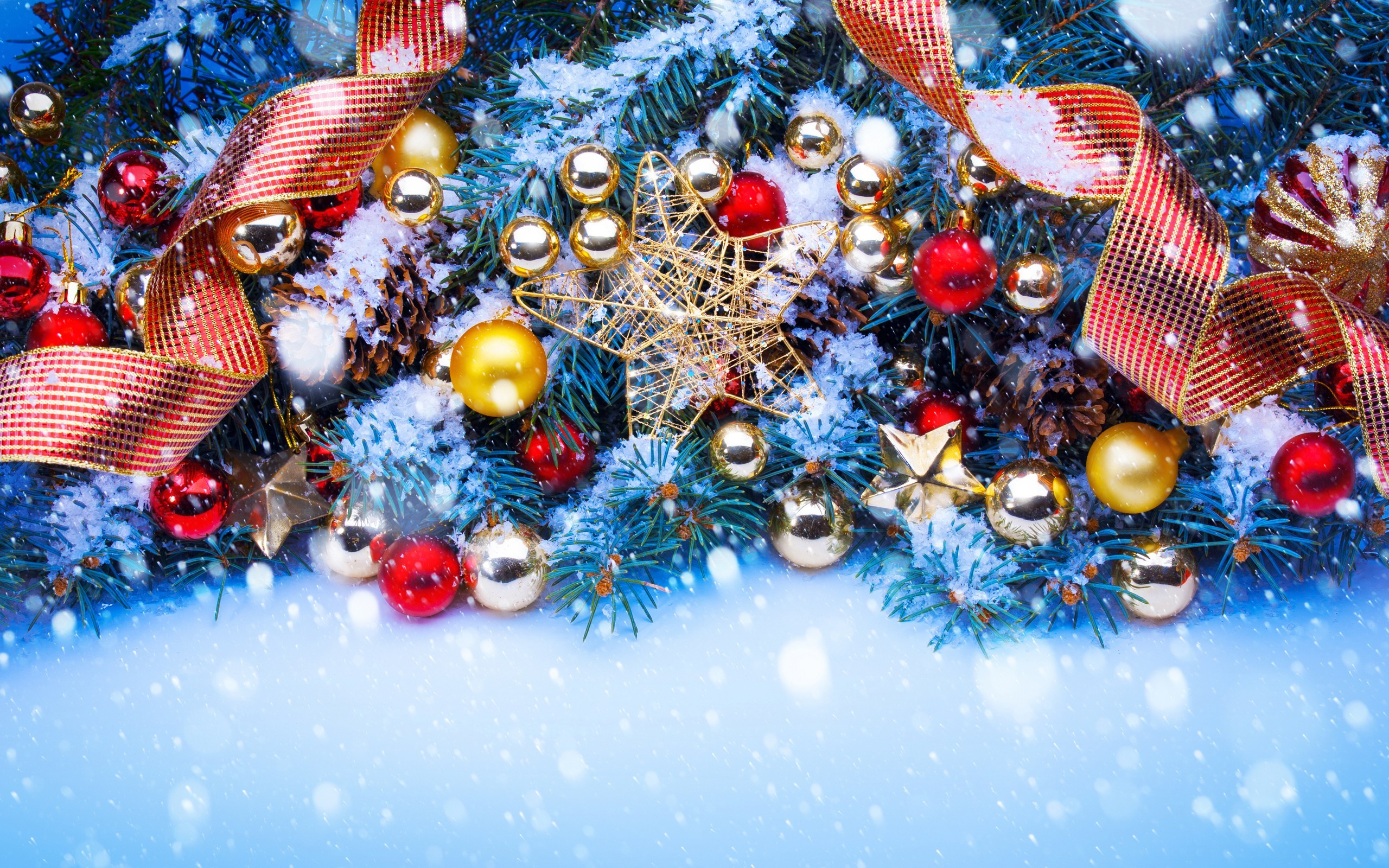 2560x1600 snow, Christmas Ornaments, Ribbon, Pine Trees Wallpapers HD / Desktop and  Mobile Backgrounds