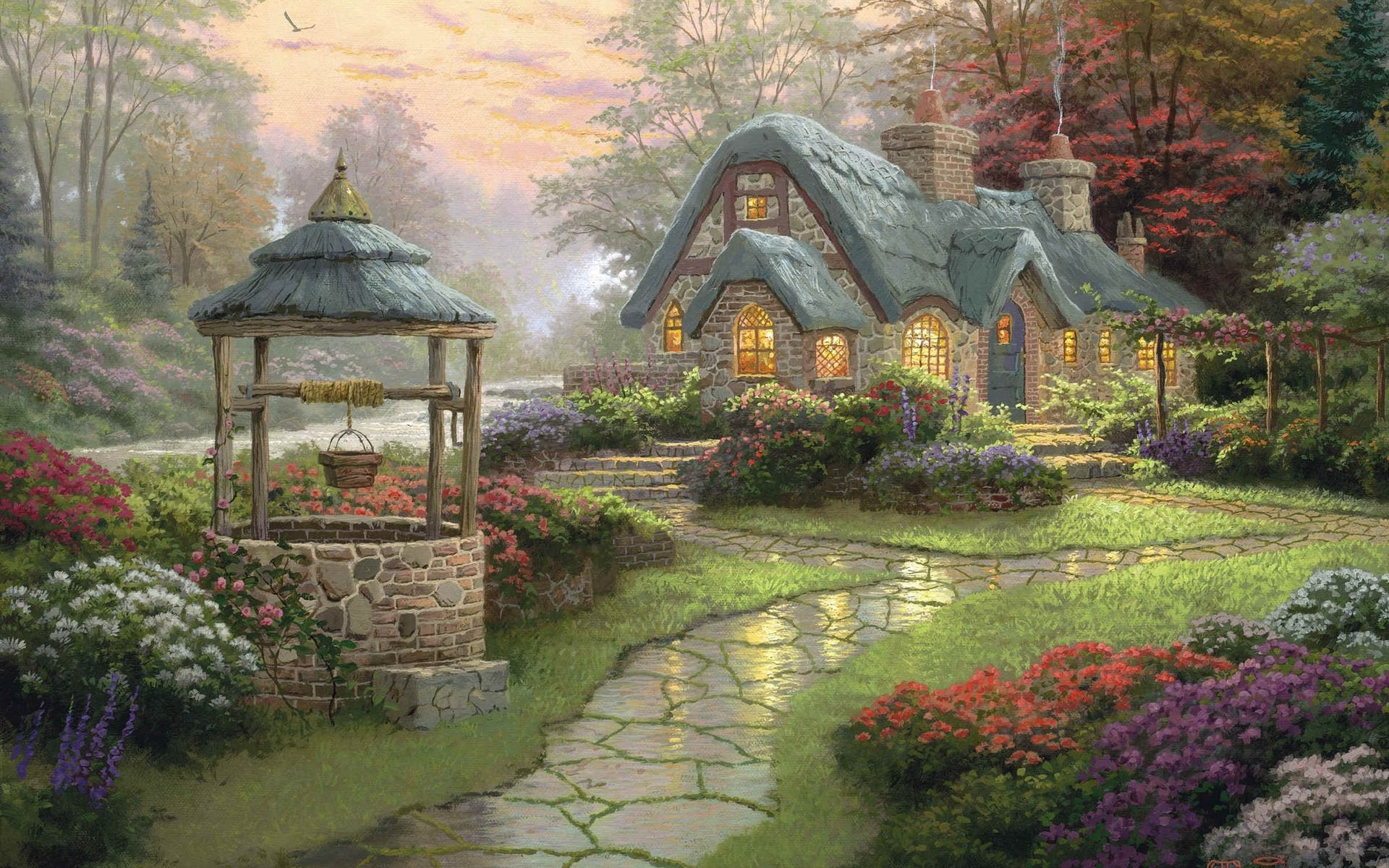 1920x1200 Wallpapers Backgrounds - landscape painting cottage wood flowers kinkade  thomas wallpapers