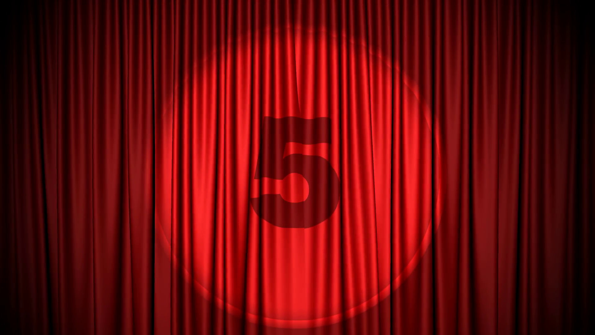1920x1080 Red Cinema/theater type curtain with numbers 5 counting down to one  projected on it. Curtain opens to reveal a solid green background Motion  Background - ...