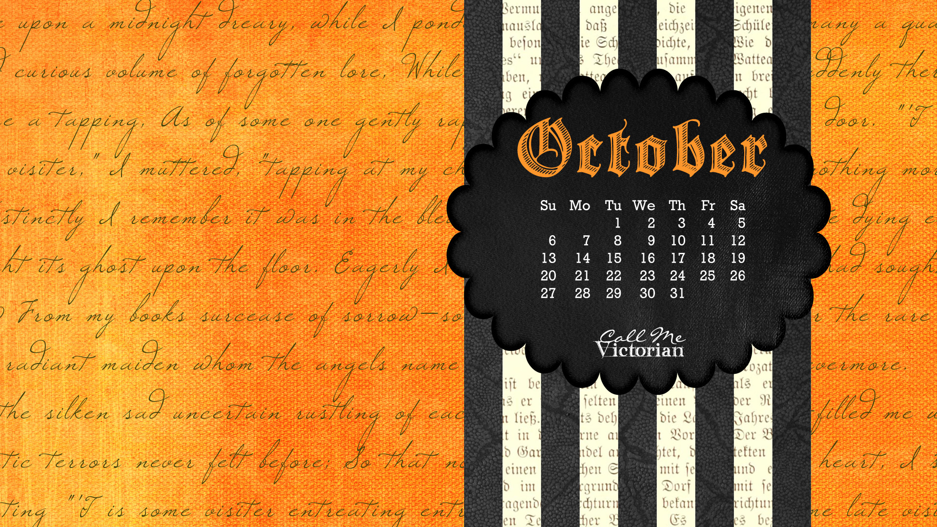 1920x1080 October 2013 Desktop Calendar Wallpaper Large