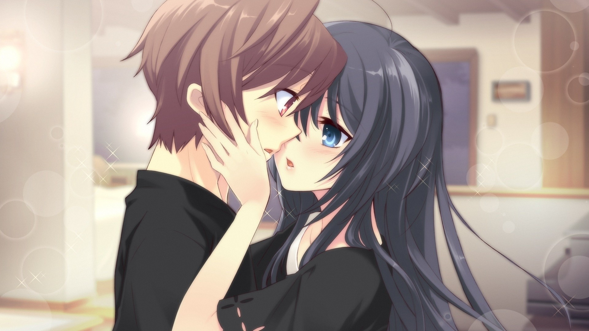 1920x1080  Wallpaper anime, boy, girl, tenderness, kiss, room