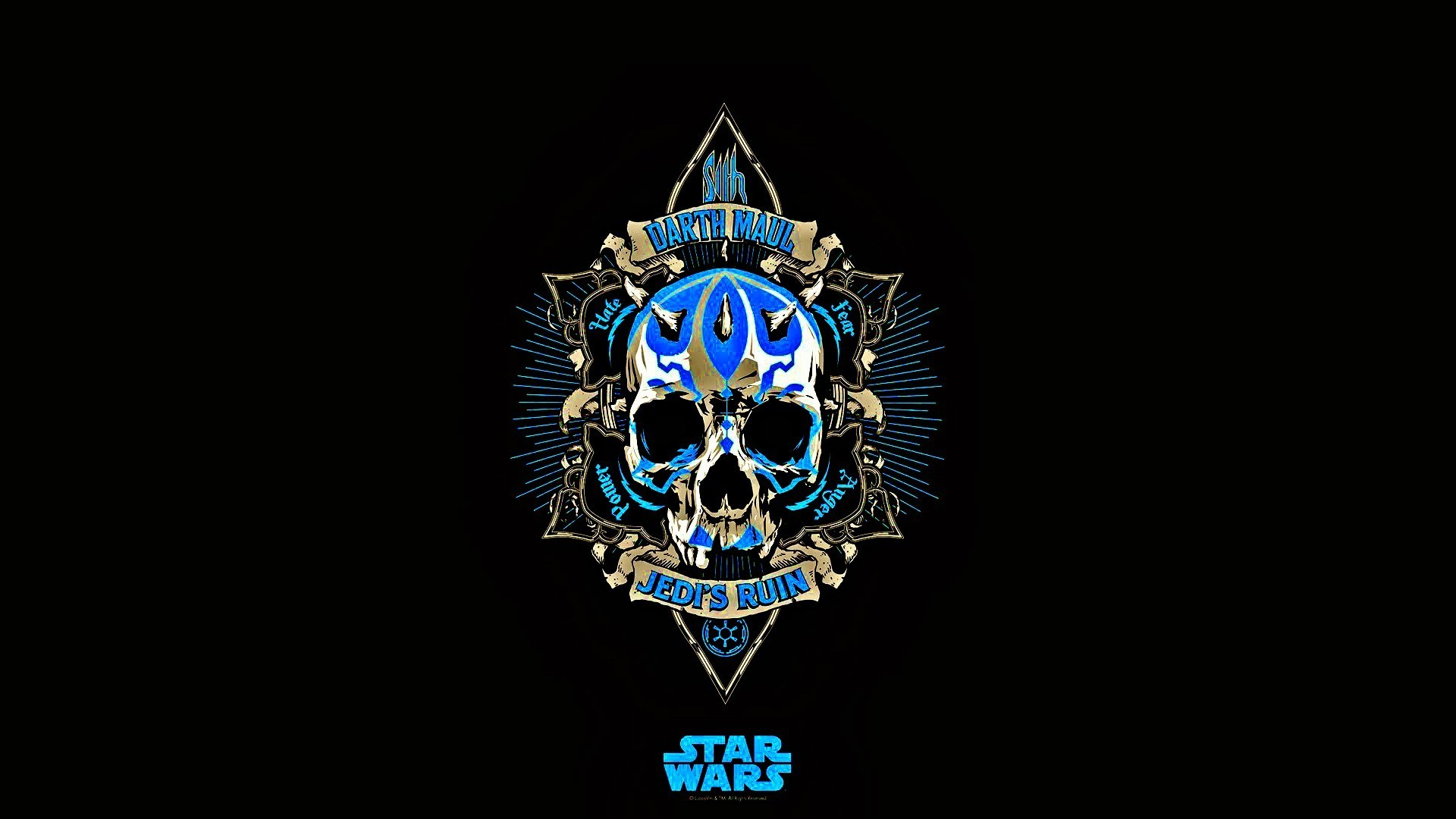 1920x1080 Star Wars, Jedi, Skull, Blue, Black, Darth Maul, Minimalism Wallpapers HD /  Desktop and Mobile Backgrounds