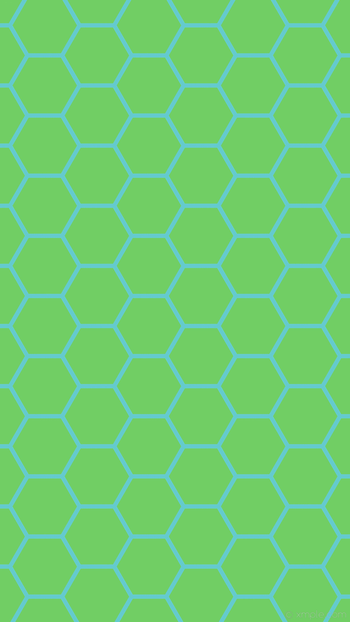 1152x2048 wallpaper green hexagon beehive cyan honeycomb #70ce65 #65cace diagonal 30°  14px 198px