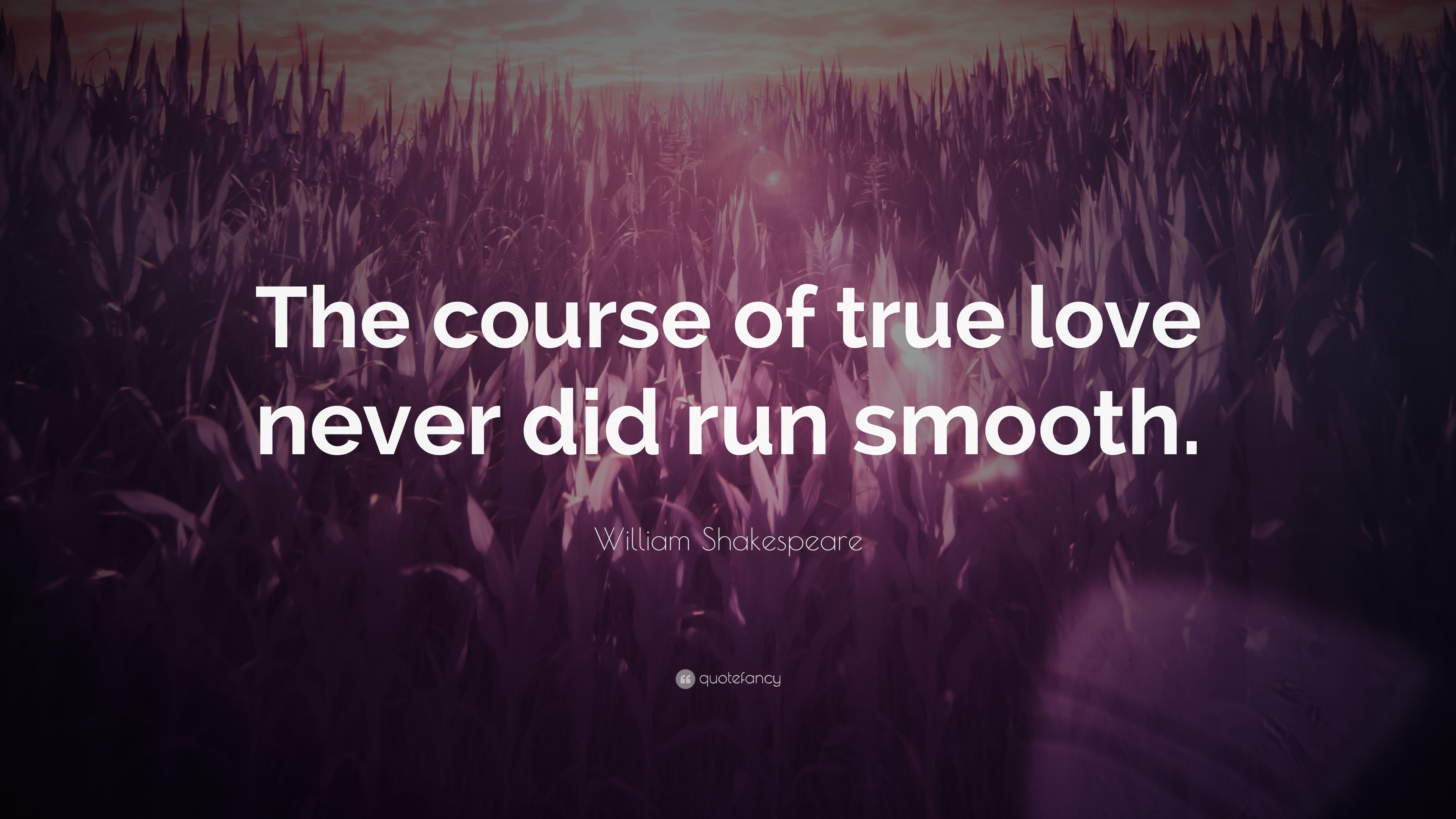 "3840x2160 William Shakespeare Quote: ""The course of true love never did run smooth."""