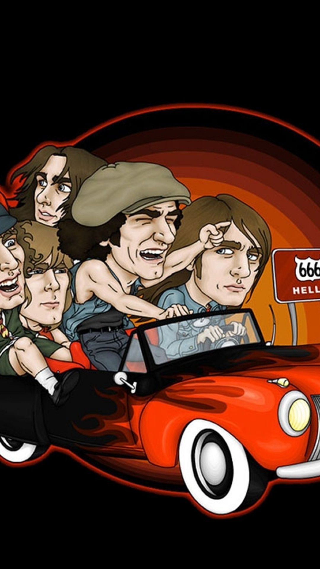 1080x1920 Preview wallpaper acdc, picture, car, direction, sign