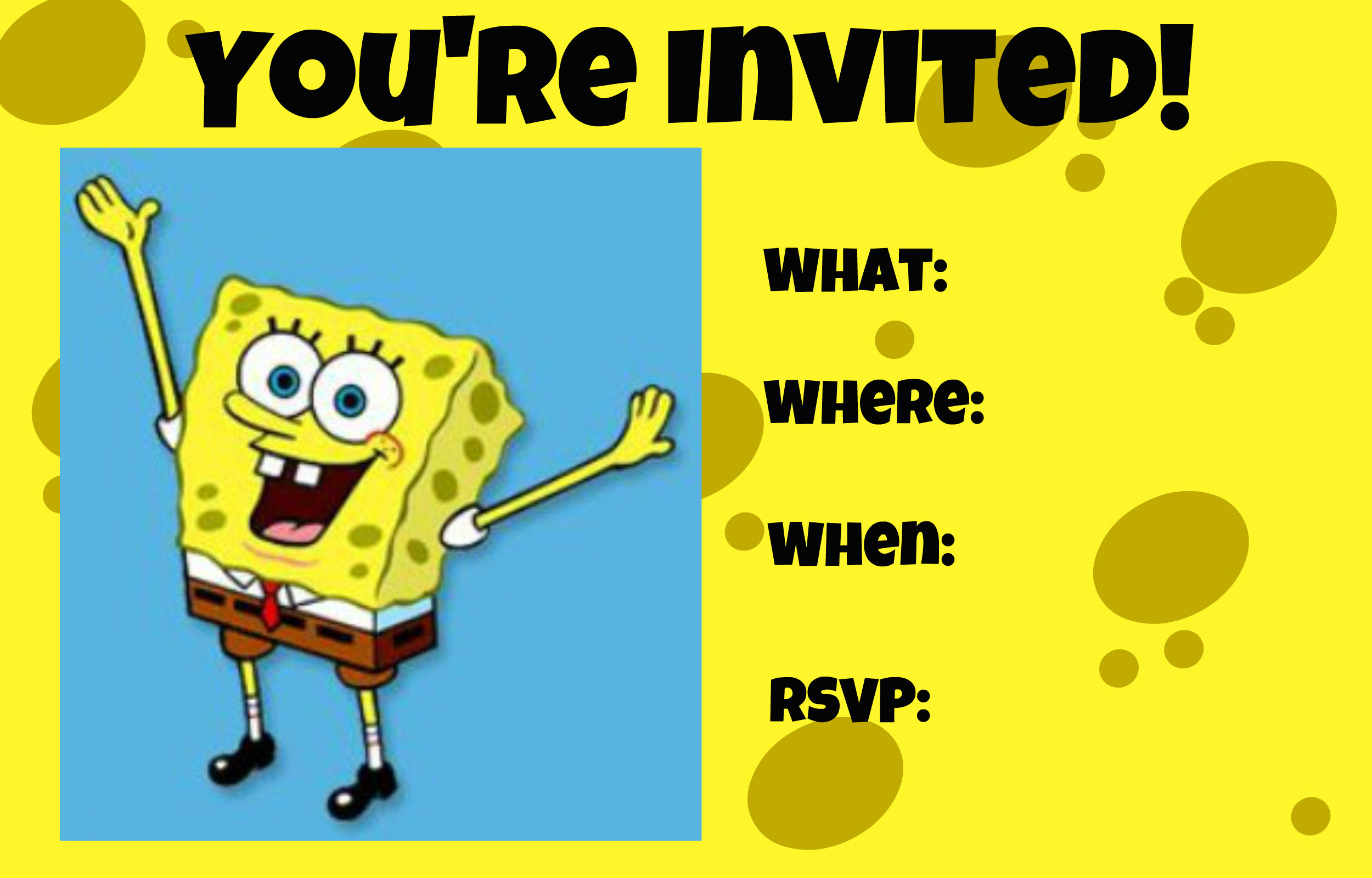 2500x1600 SpongeBob SquarePants invitation