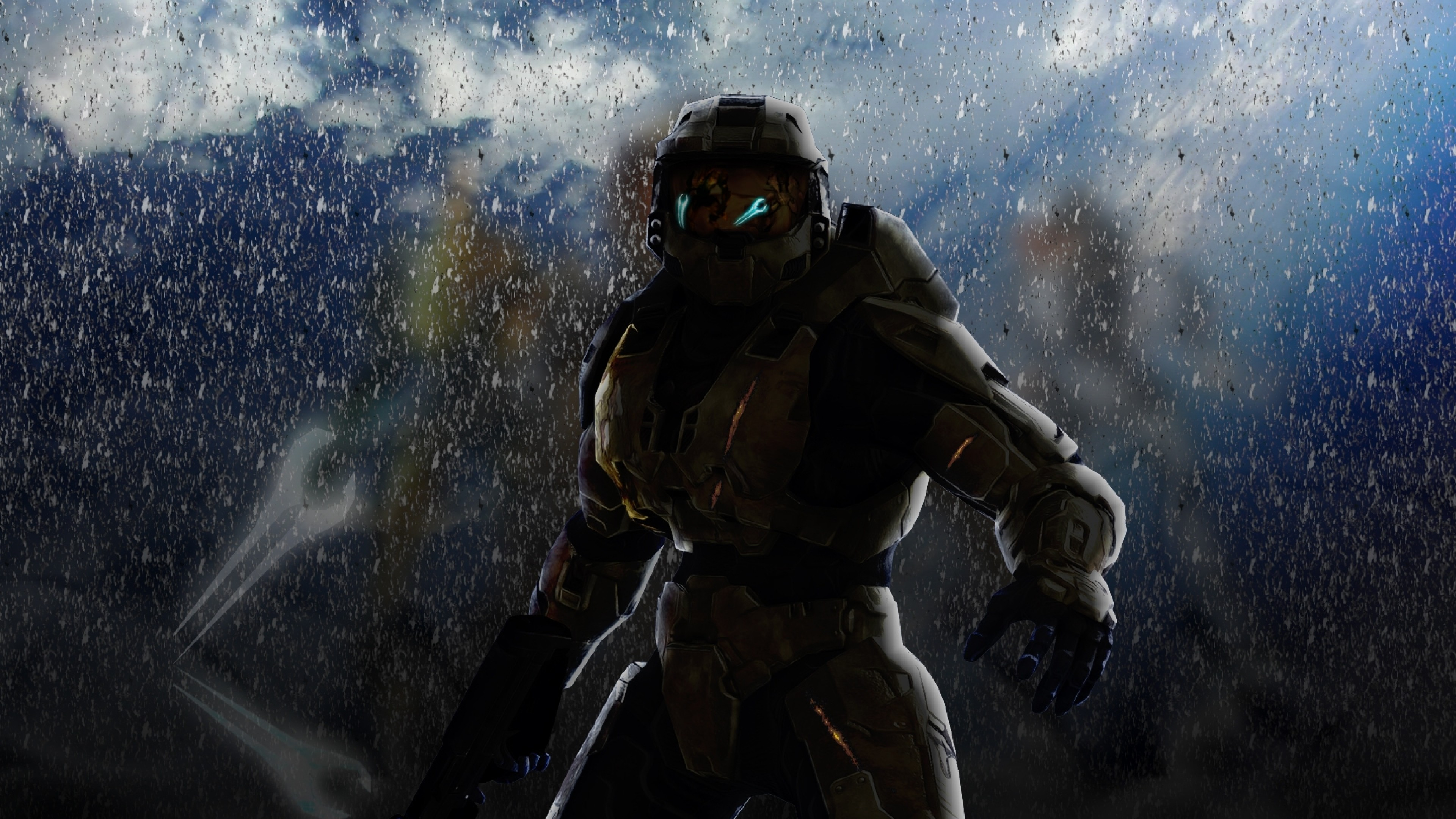 3840x2160 Preview wallpaper halo, soldier, armor, look