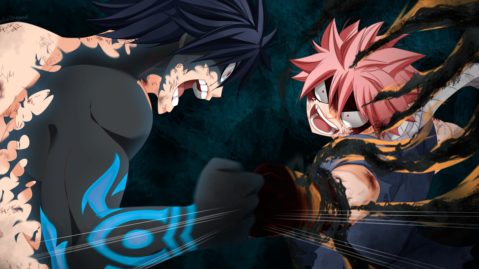 1920x1080 HD Wallpaper Anime, Fairy Tail, Gray Fullbuster, Natsu Dragneel