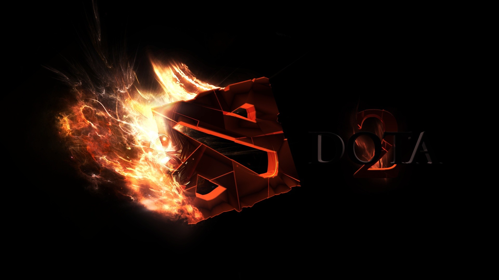 1920x1080 Preview wallpaper dota 2, art, logo, fire