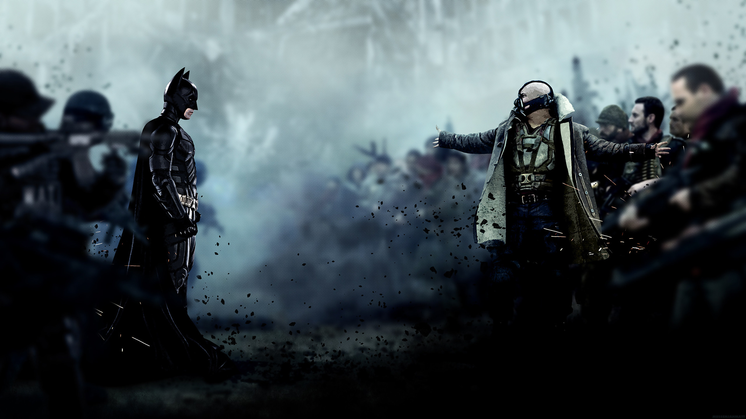 2560x1440 Wallpaper: Bane vs Batman / The Dark Knight Rises