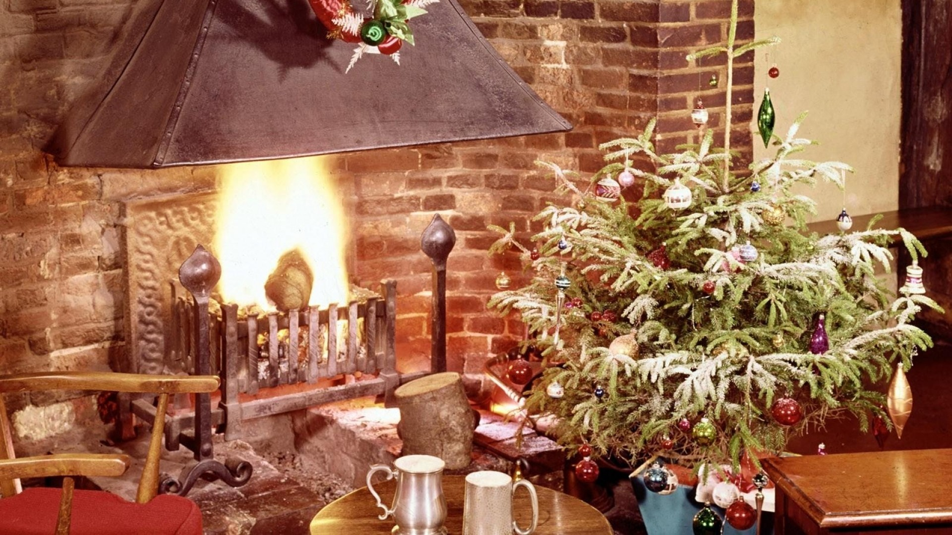 1920x1080 ... Background Full HD 1080p.  Wallpaper christmas tree,  fireplace, fire, holiday, christmas