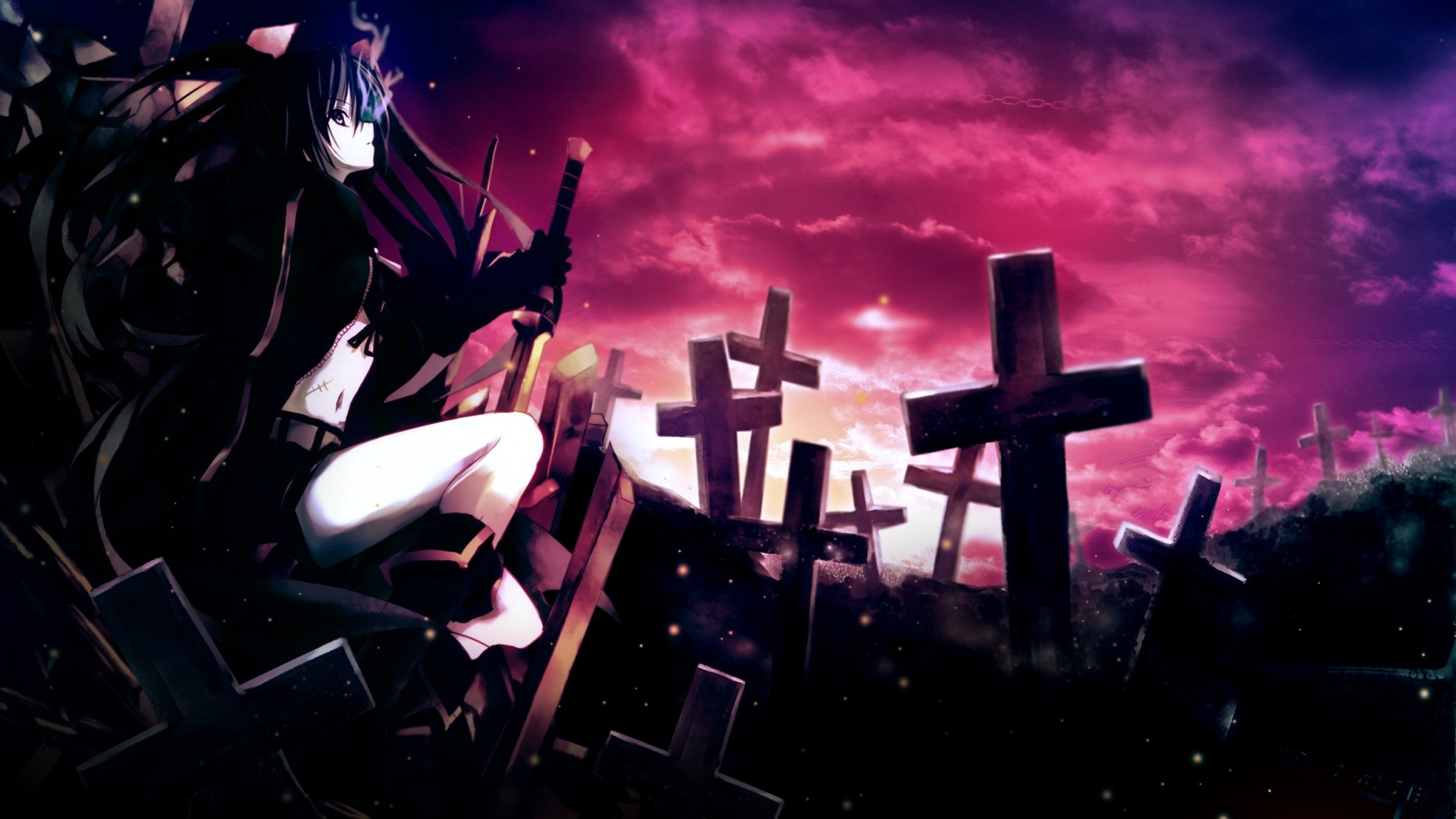 2048x1152 Preview wallpaper anime, girl, thoughtful, sword, cemetery, darkness