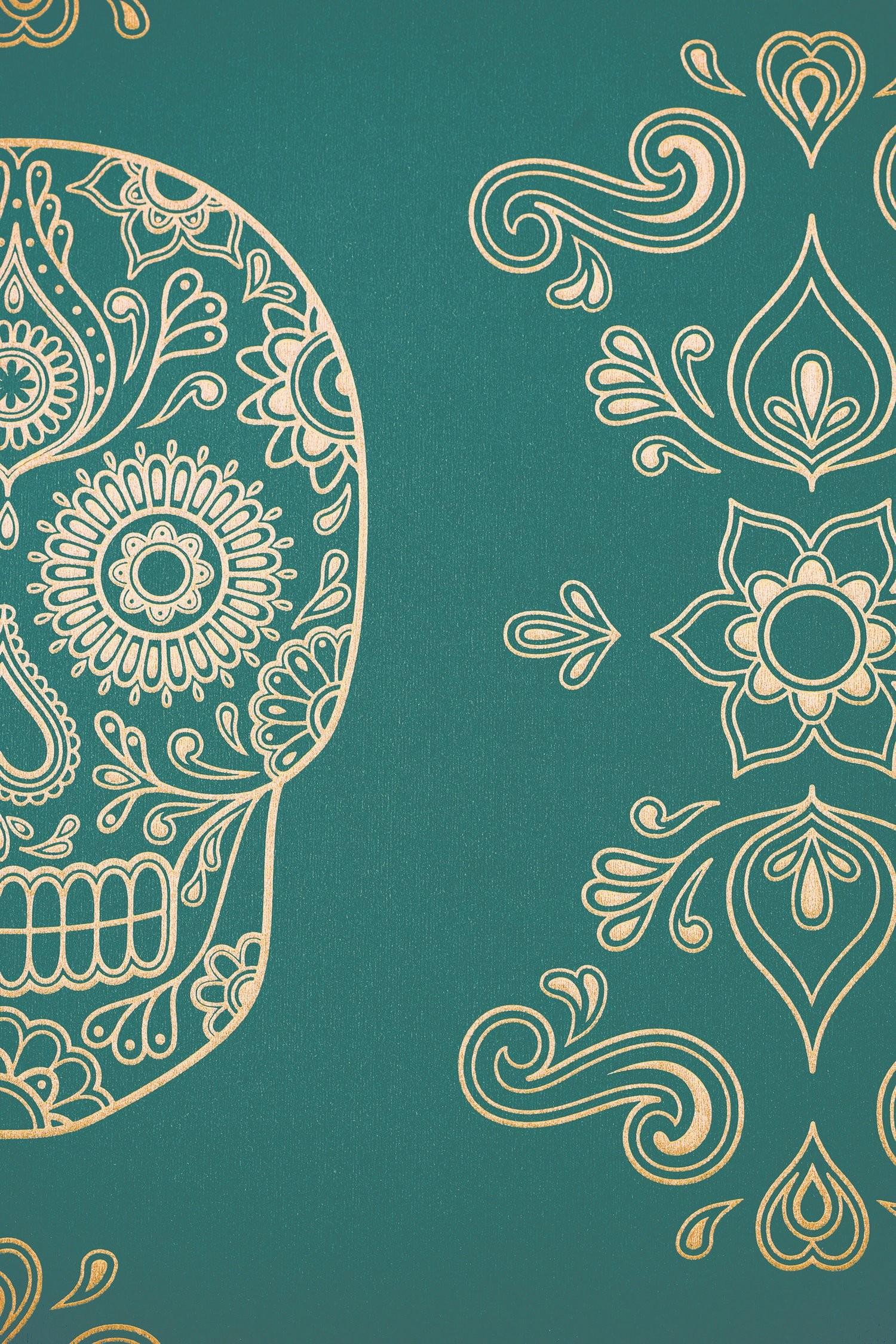 1500x2250 Image of Day of the Dead Sugar Skull Wallpaper - Emerald .